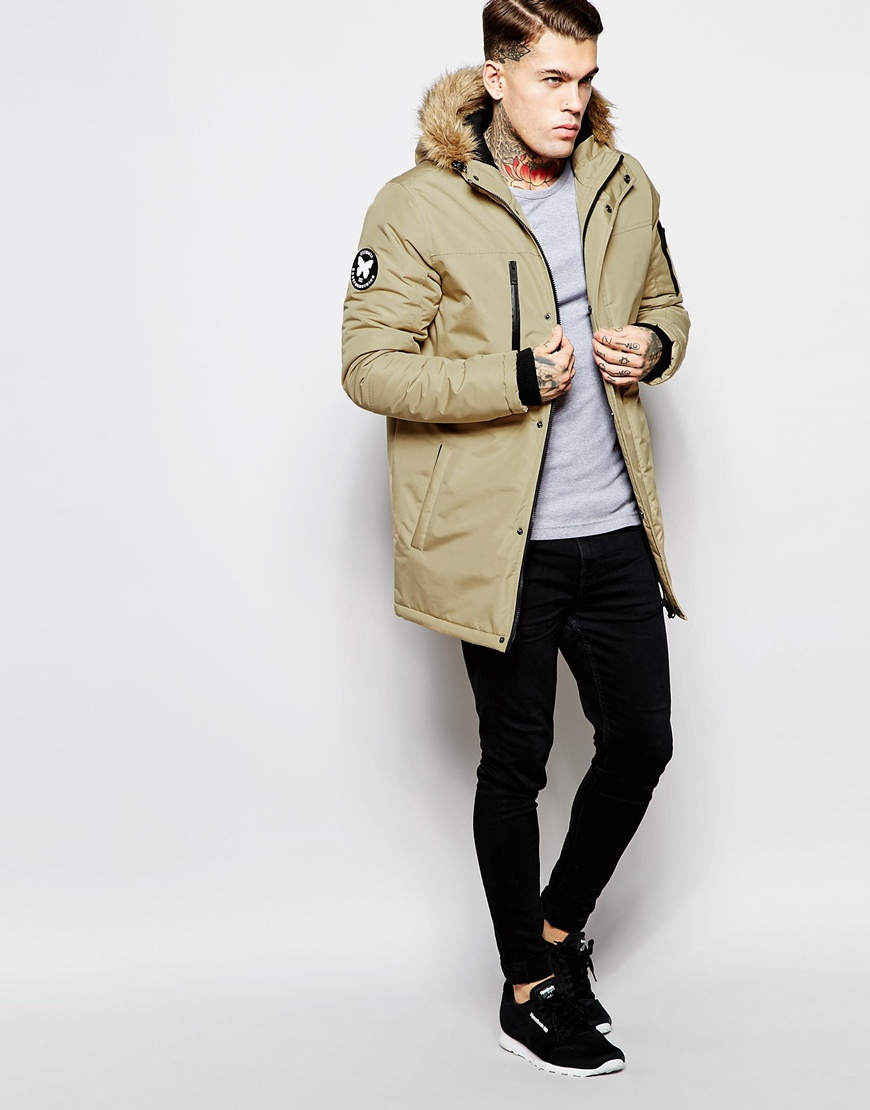 Good for nothing Parka With Faux Fur Hood in Natural for Men | Lyst