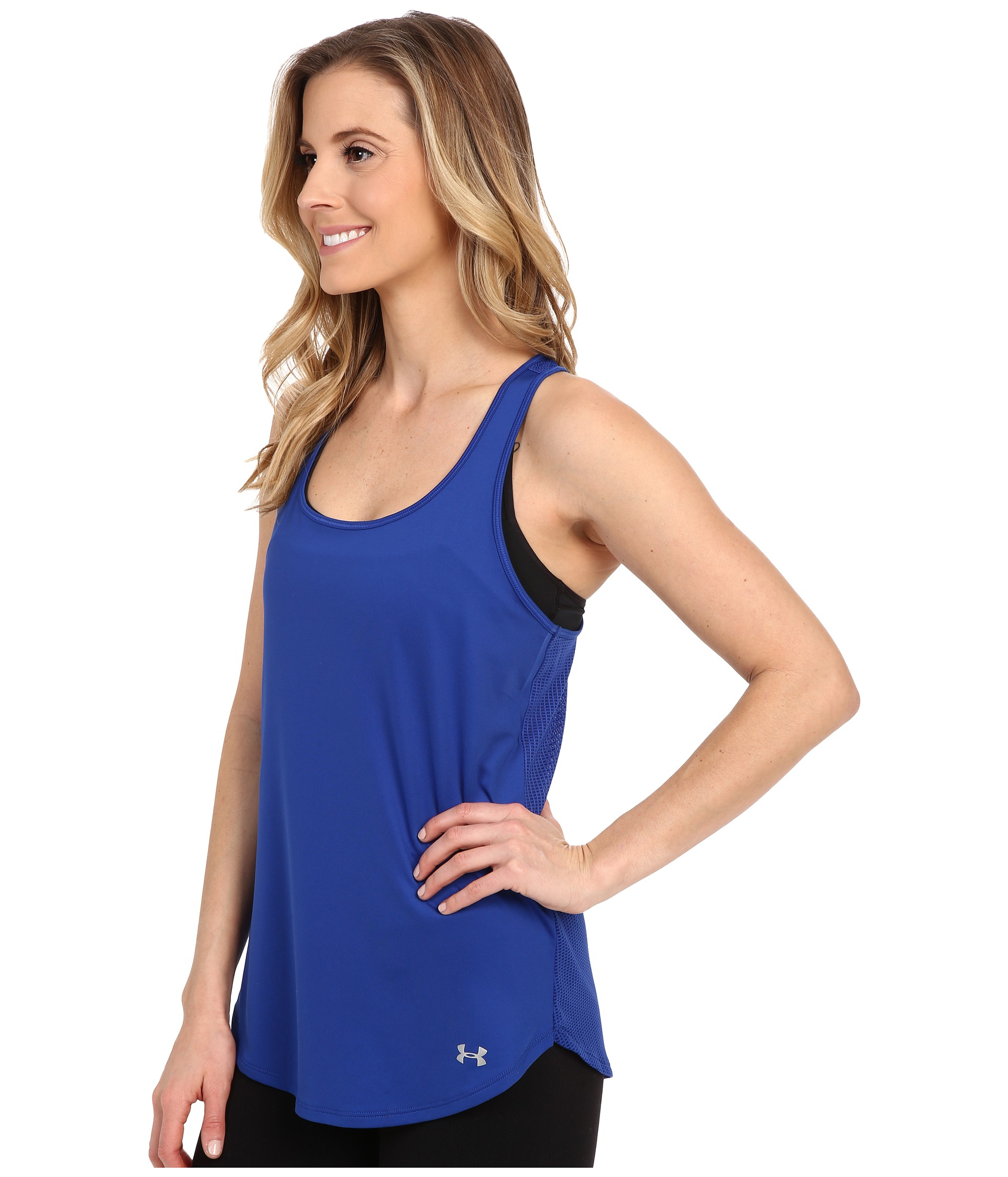 lyst under armour fly by run tank top in blue. Black Bedroom Furniture Sets. Home Design Ideas