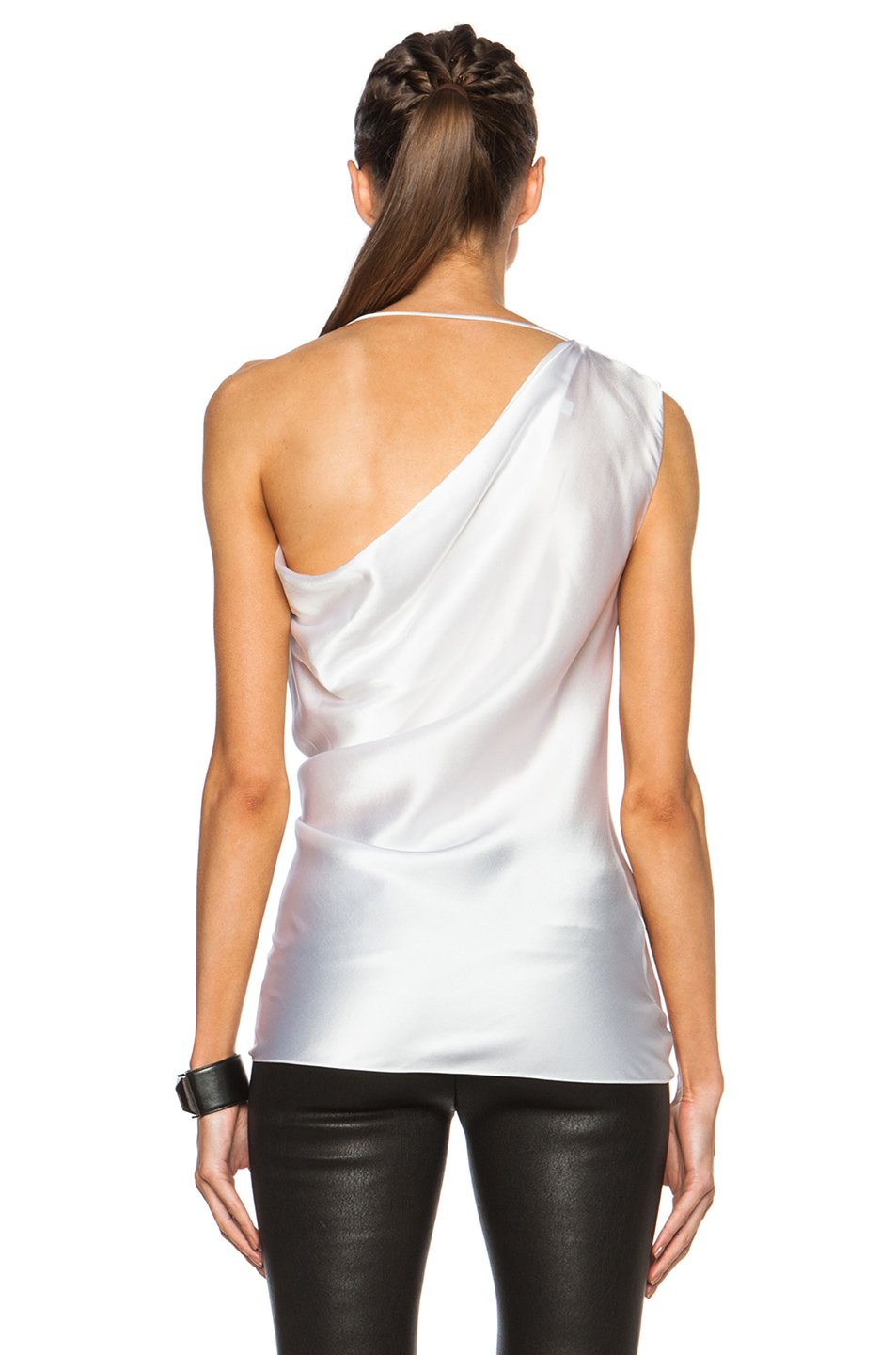cushnie et ochs draped silk charmeuse one shoulder top in white lyst. Black Bedroom Furniture Sets. Home Design Ideas