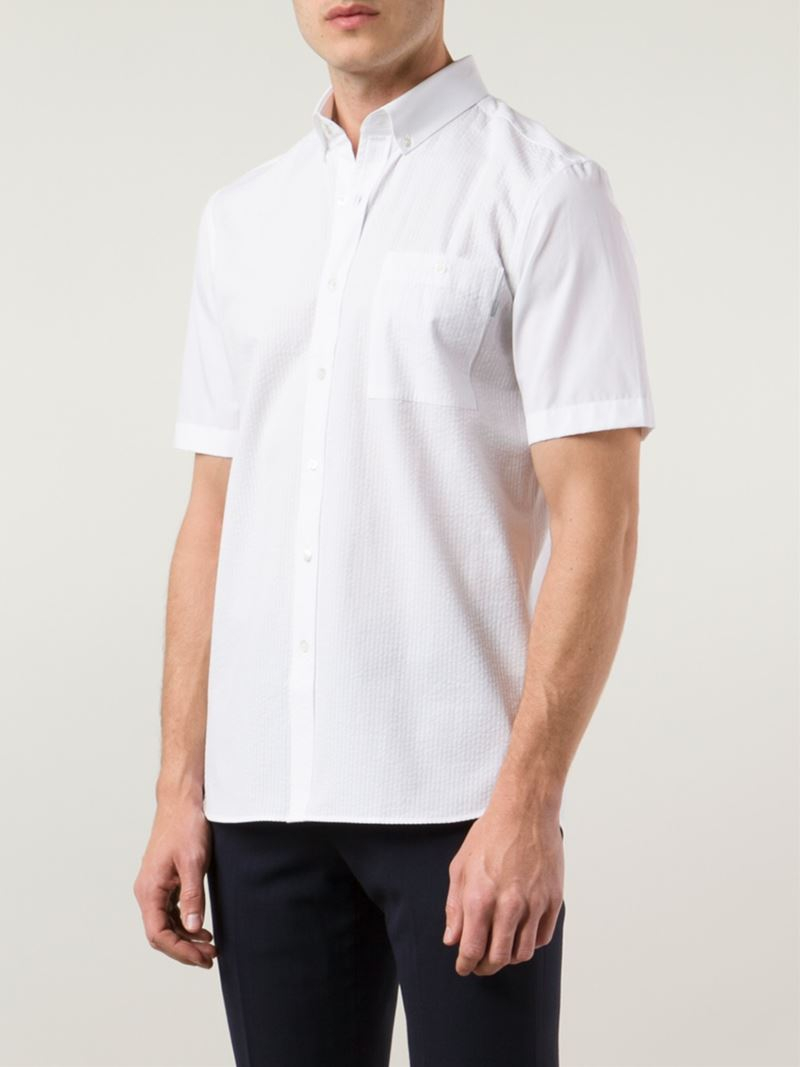 Lyst patrik ervell short sleeve button down shirt in for White short sleeve button down shirts for men