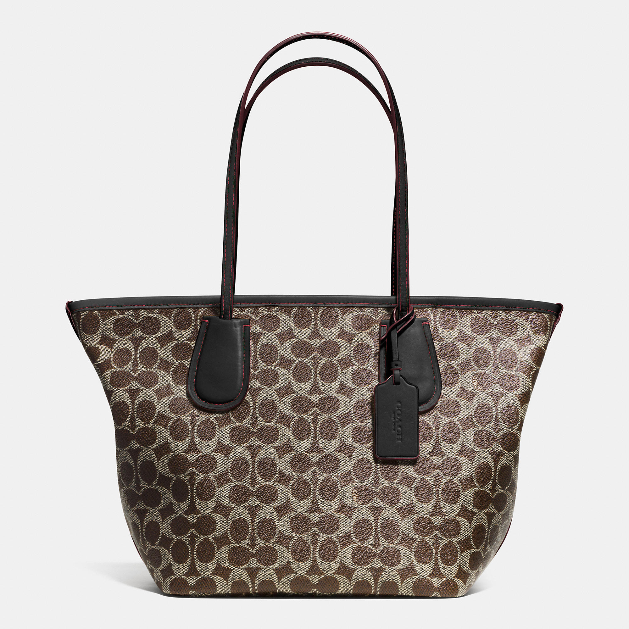 Coach Taxi Zip Top Tote In Signature Canvas in Brown | Lyst