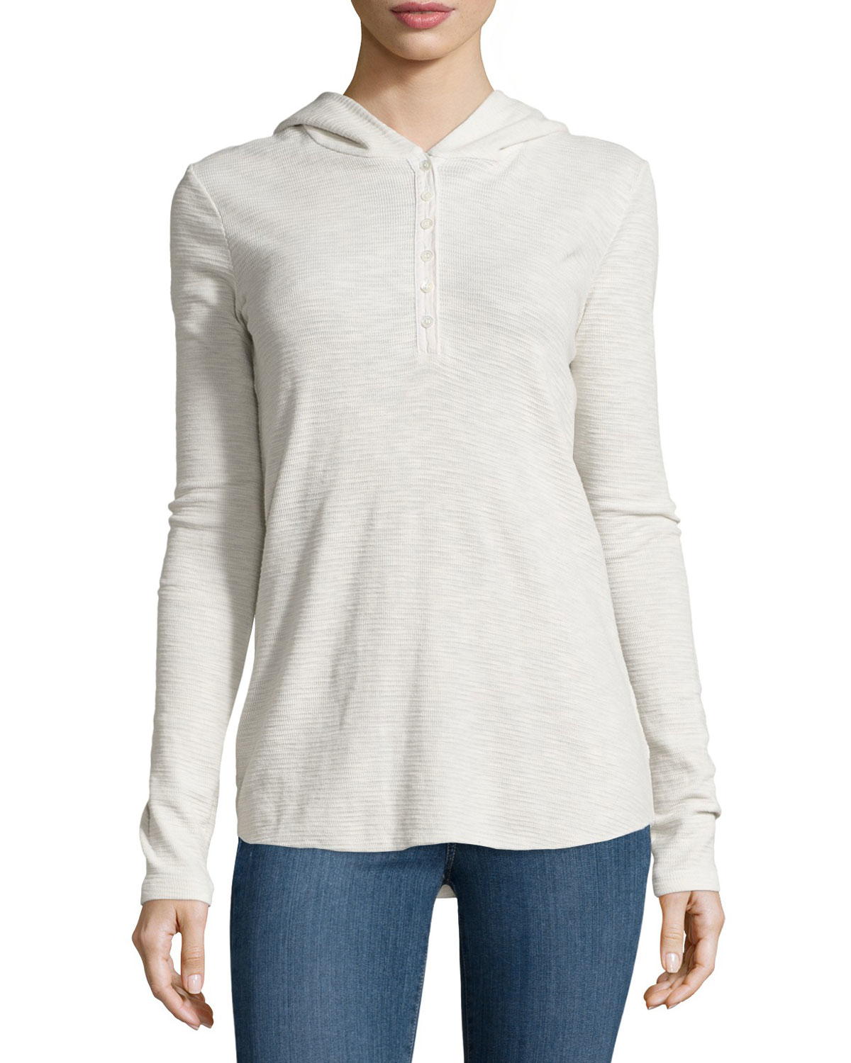 James perse thermal hooded henley in natural lyst for James perse henley shirt