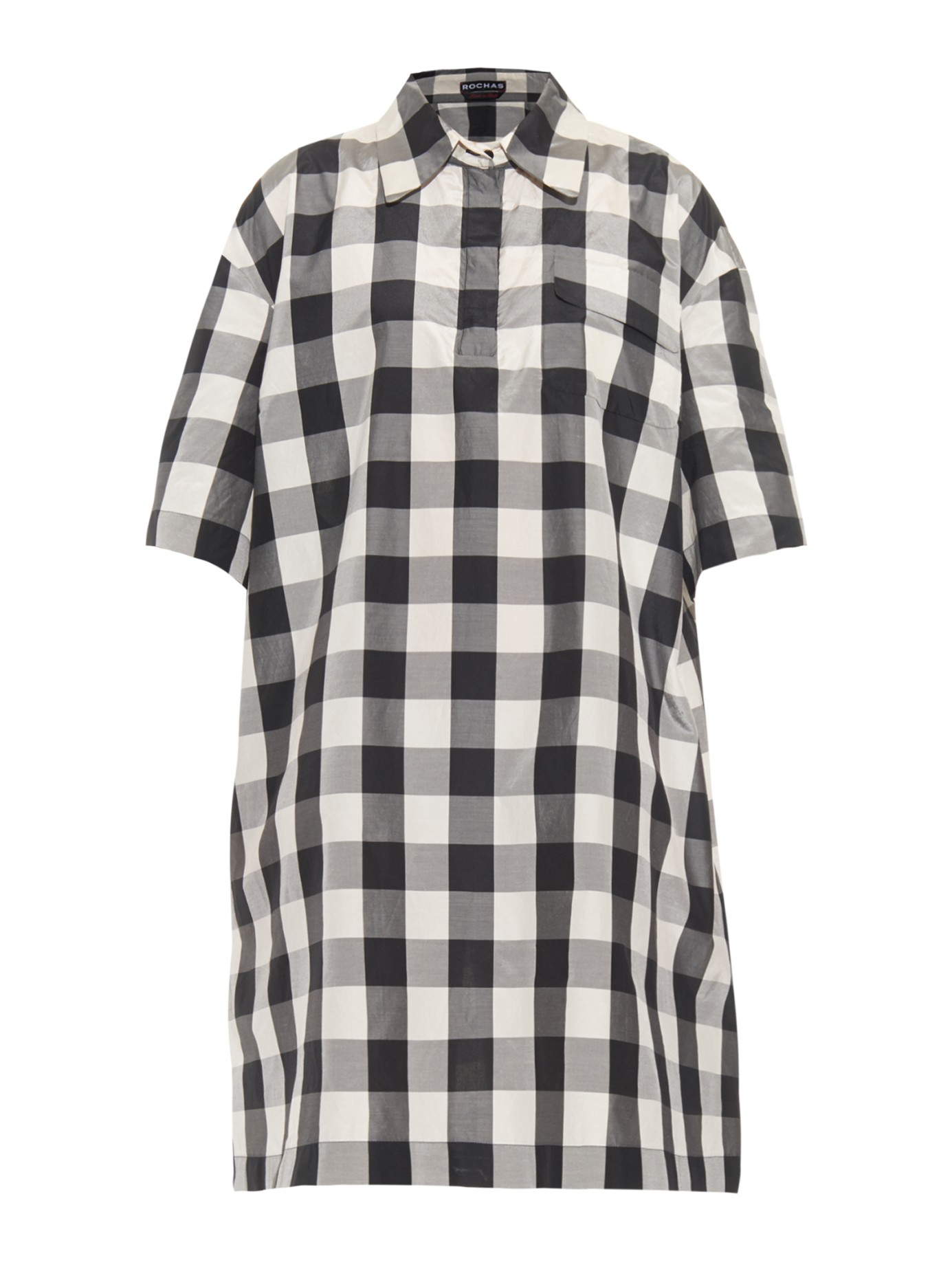 Rochas checked shirt dress in black lyst for Black and white checker shirt