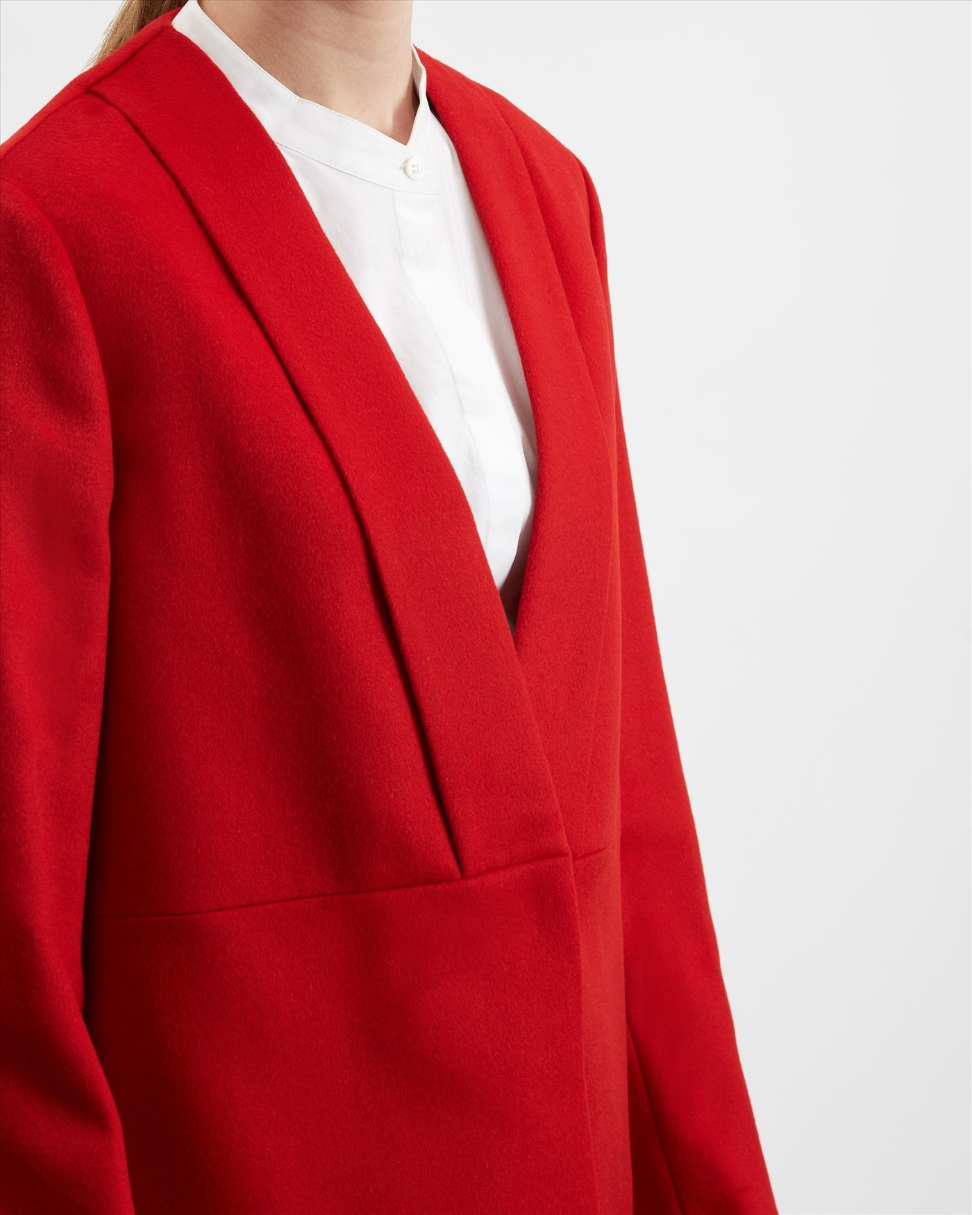 Jaeger Wool Folded Collar Short Coat in Red   Lyst