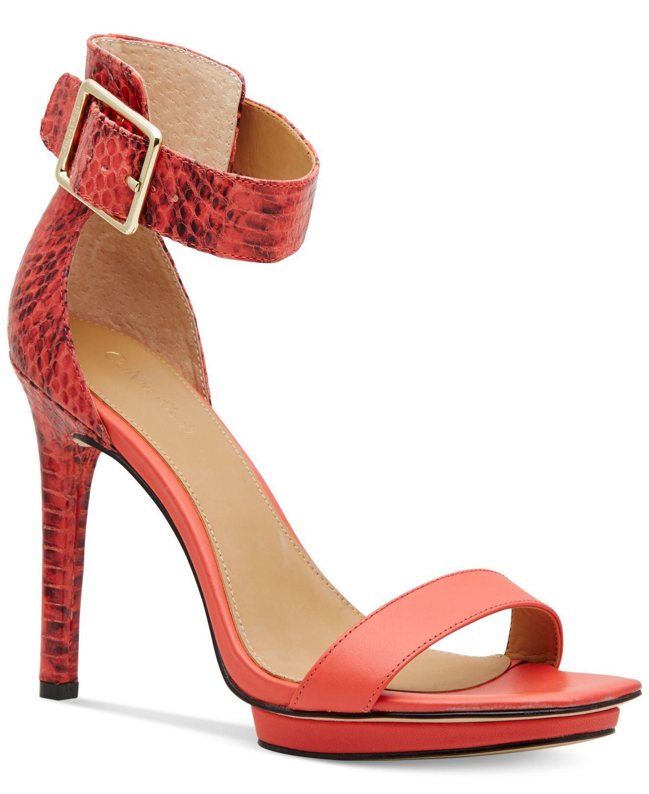 47d07750237 Lyst - Calvin Klein Women s Vable Sandals in Orange