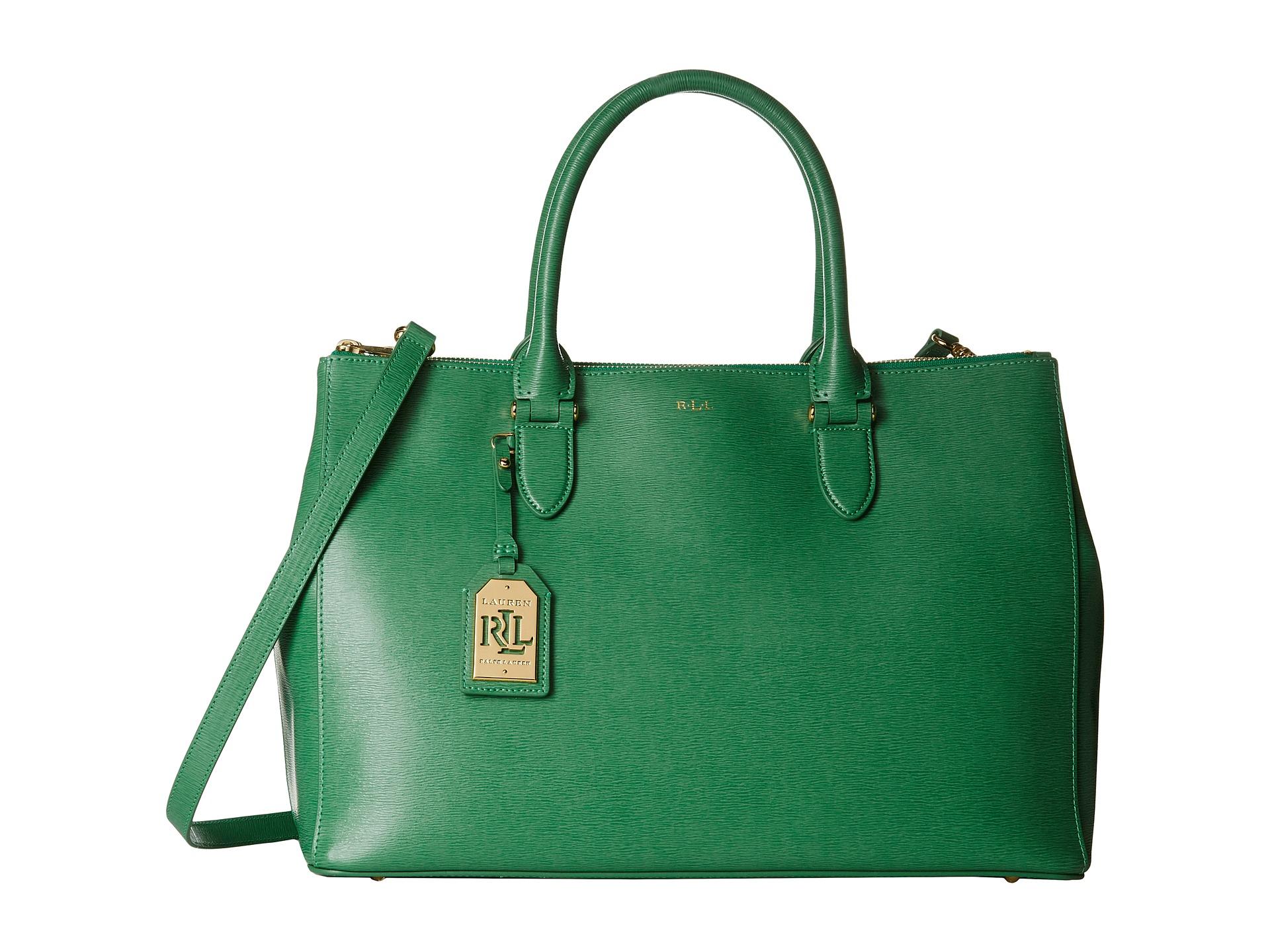 ab80f0d86d1 Lyst - Lauren by Ralph Lauren Newbury Double Zip Satchel in Green
