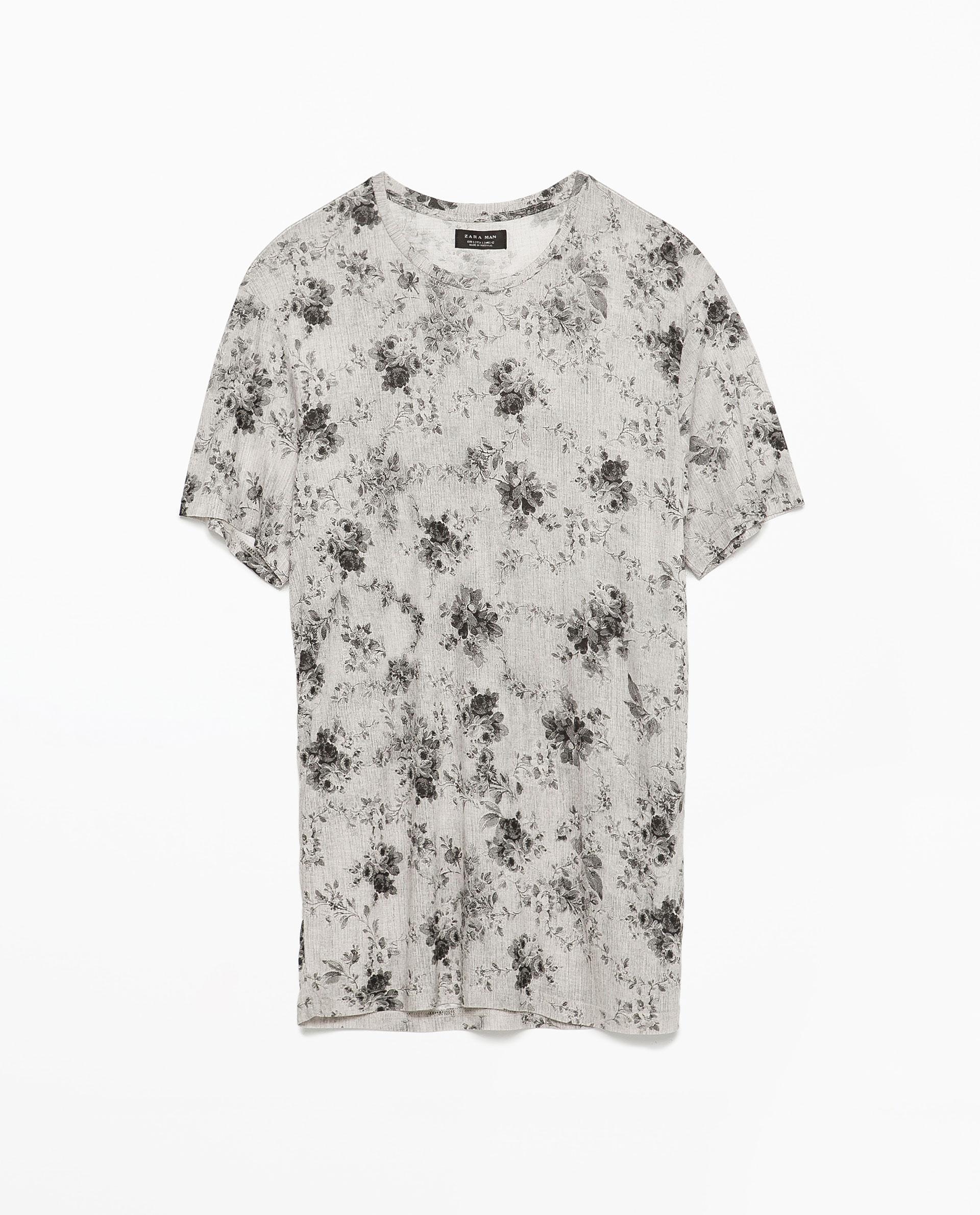 Zara floral t shirt in gray for men grey marl lyst for Zara mens floral shirt