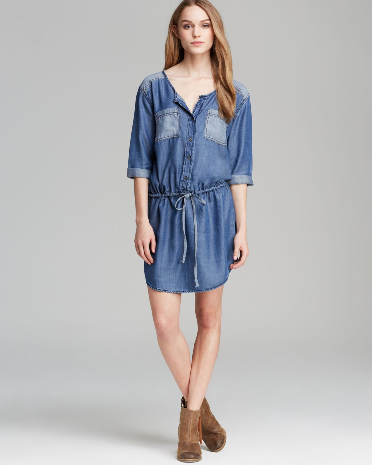 Michael stars shirt dress button down in blue denim lyst for Michael stars t shirts on sale