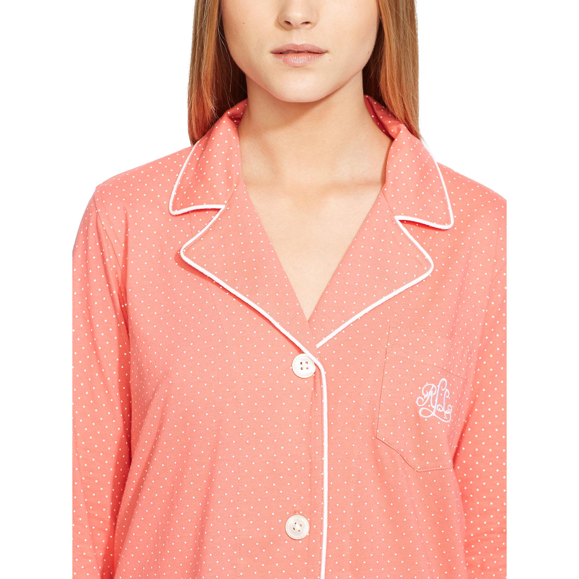 Ralph lauren polka dot sleep shirt in pink lyst for Pink and white ralph lauren shirt
