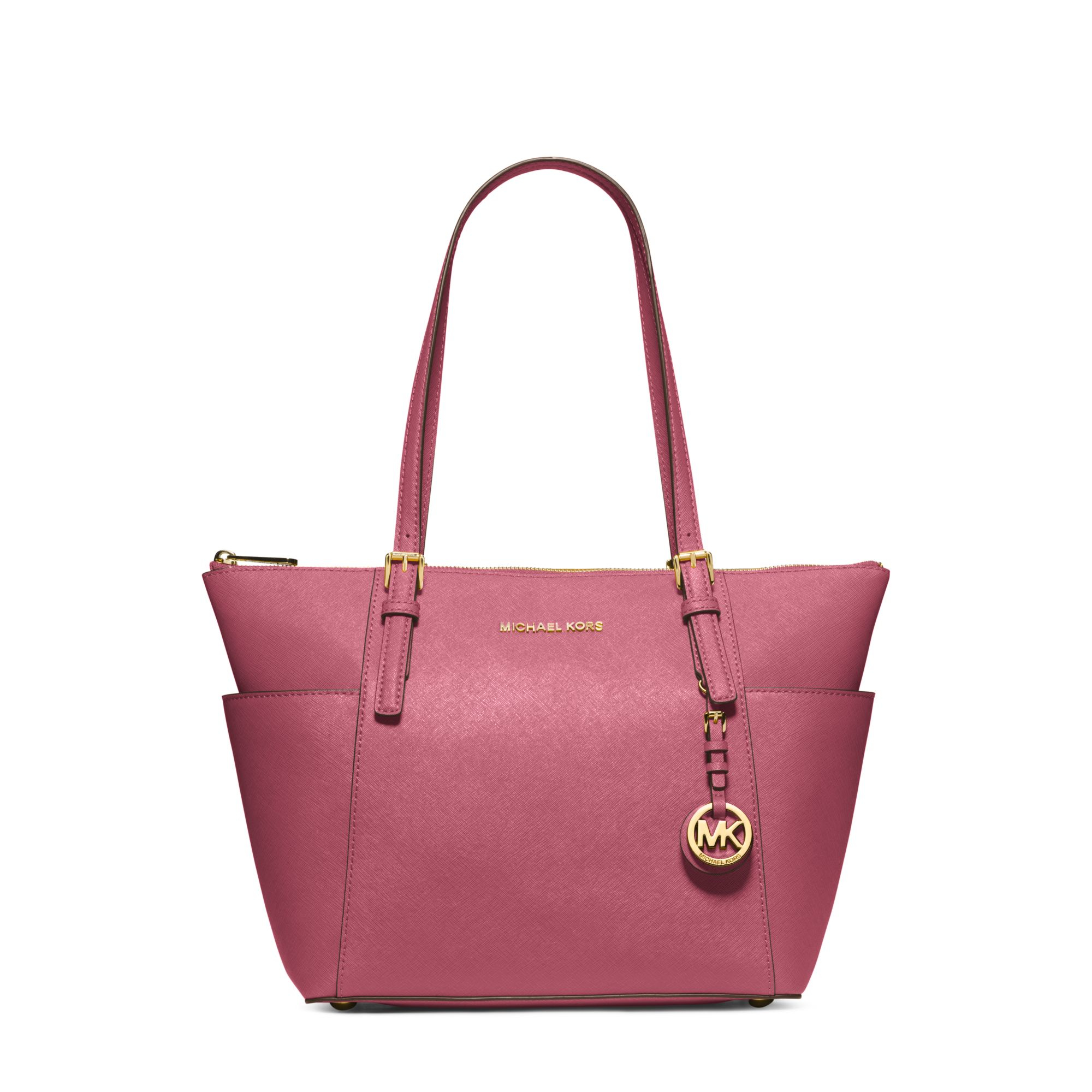 michael kors jet set top zip saffiano leather tote in pink. Black Bedroom Furniture Sets. Home Design Ideas