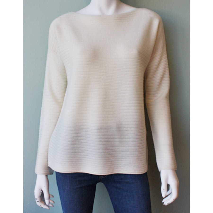 Vince Horizontal Rib Boatneck Sweater in Natural | Lyst