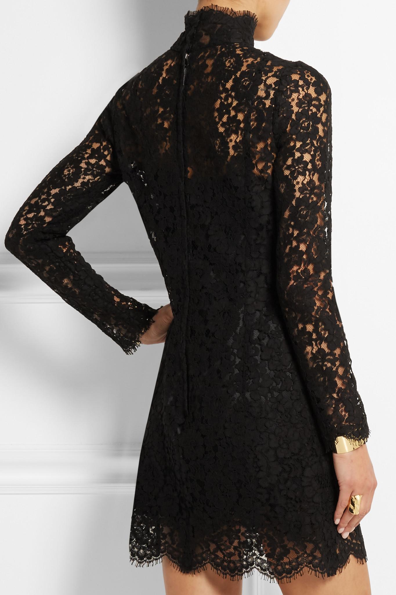 Dolce Amp Gabbana Cotton Blend Guipure Lace Mini Dress In