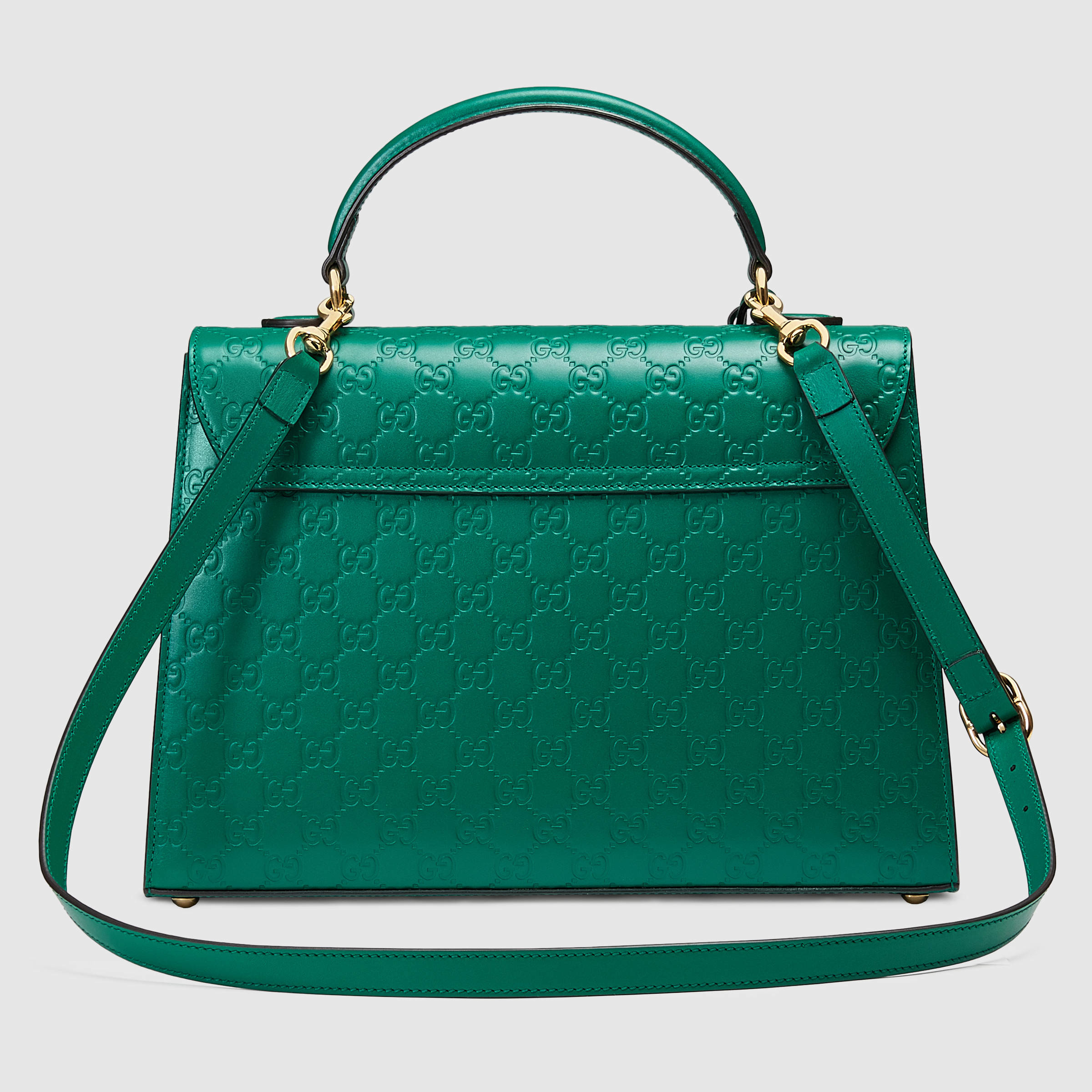 9fd766c8b289 Lyst - Gucci Padlock Signature Top Handle Leather Bag in Green