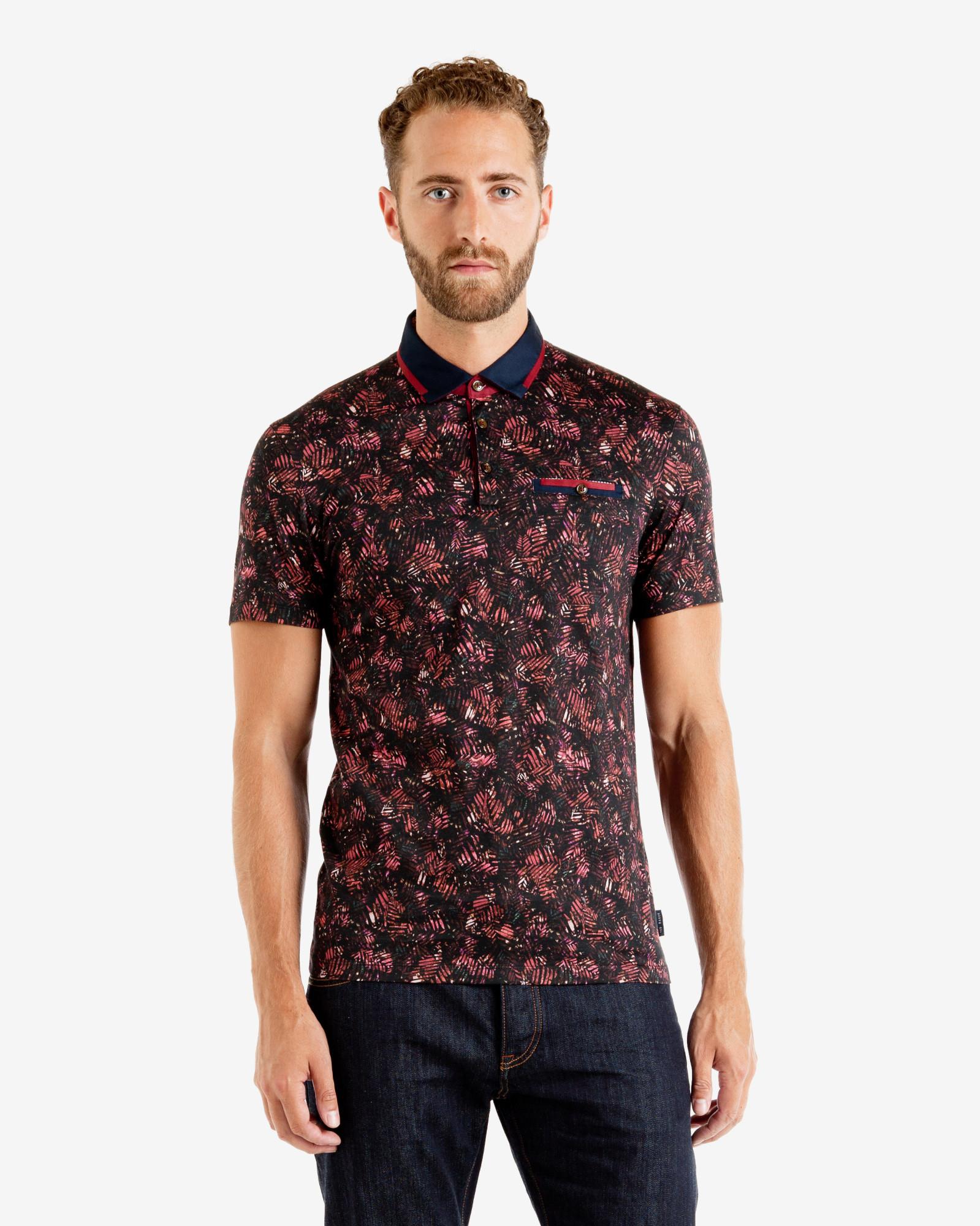 Lyst ted baker tropical leaf print polo shirt in red for men for Ted baker mens polo shirts