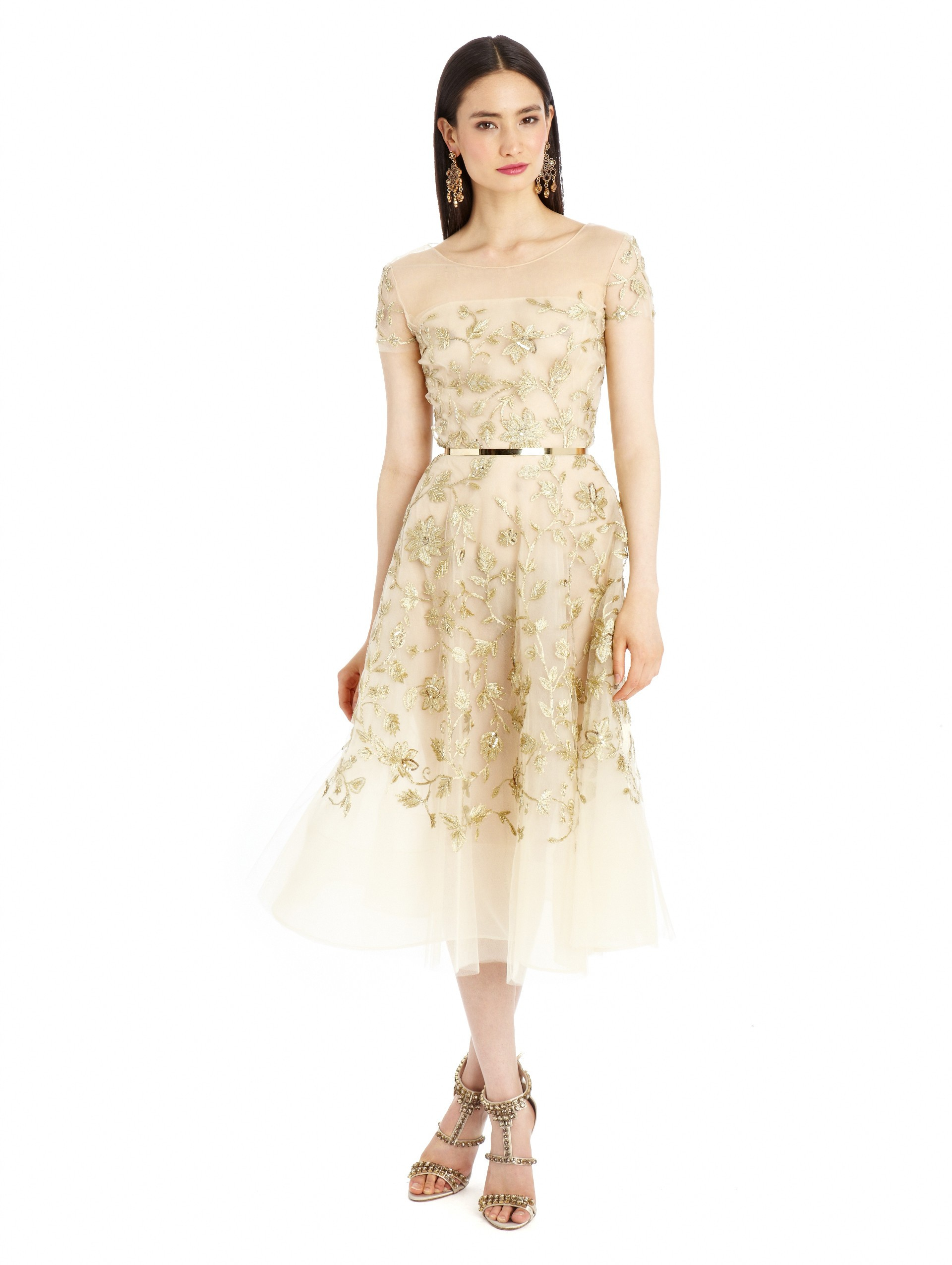 Gold Fl Embroidered Tulle Dress
