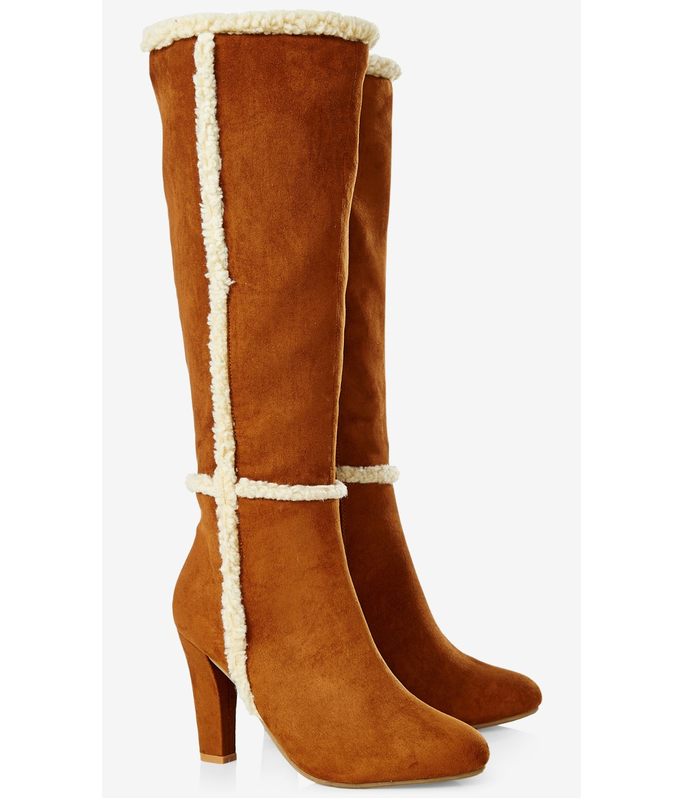 Ring In A Spicy Hot Palette Of Colors That Go With Orange: Express Tall Faux Suede Heeled Boot In Brown