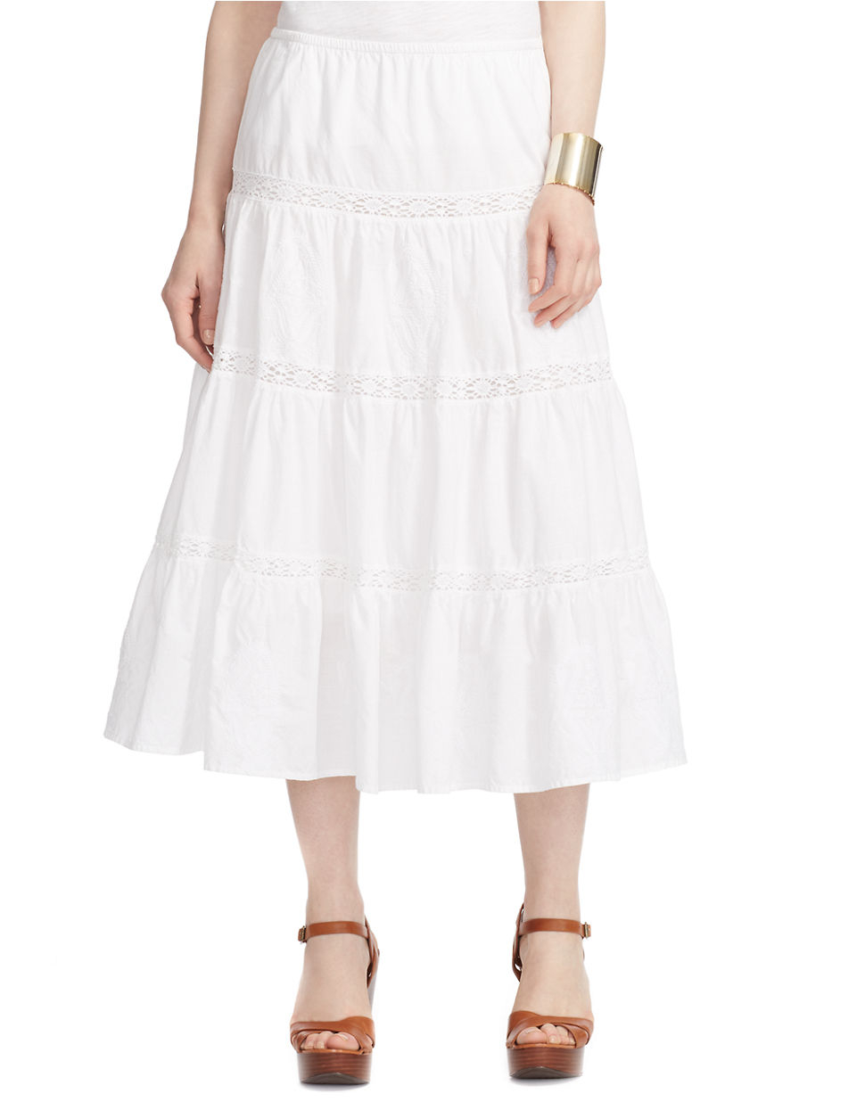 by ralph tiered cotton maxi skirt in white