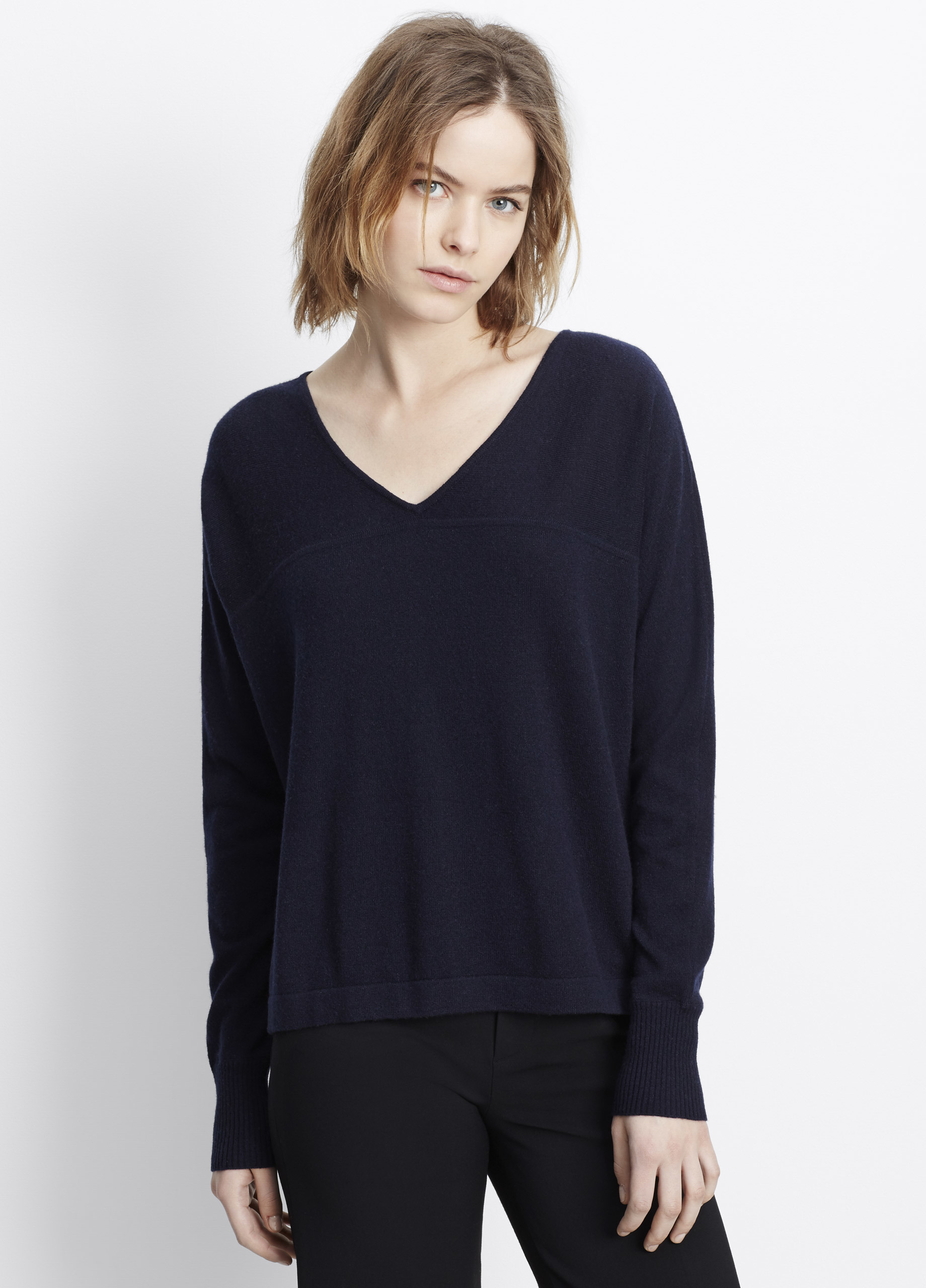 Vince Cashmere Long Sleeve V-neck Pullover Sweater in Blue | Lyst