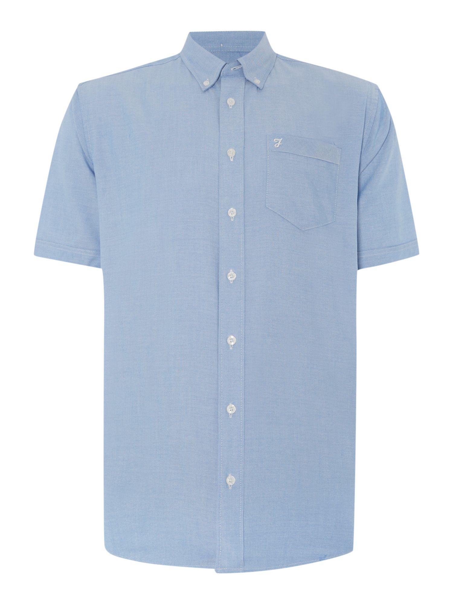 Farah plain classic fit short sleeve button down shirt in for Preppy button down shirts