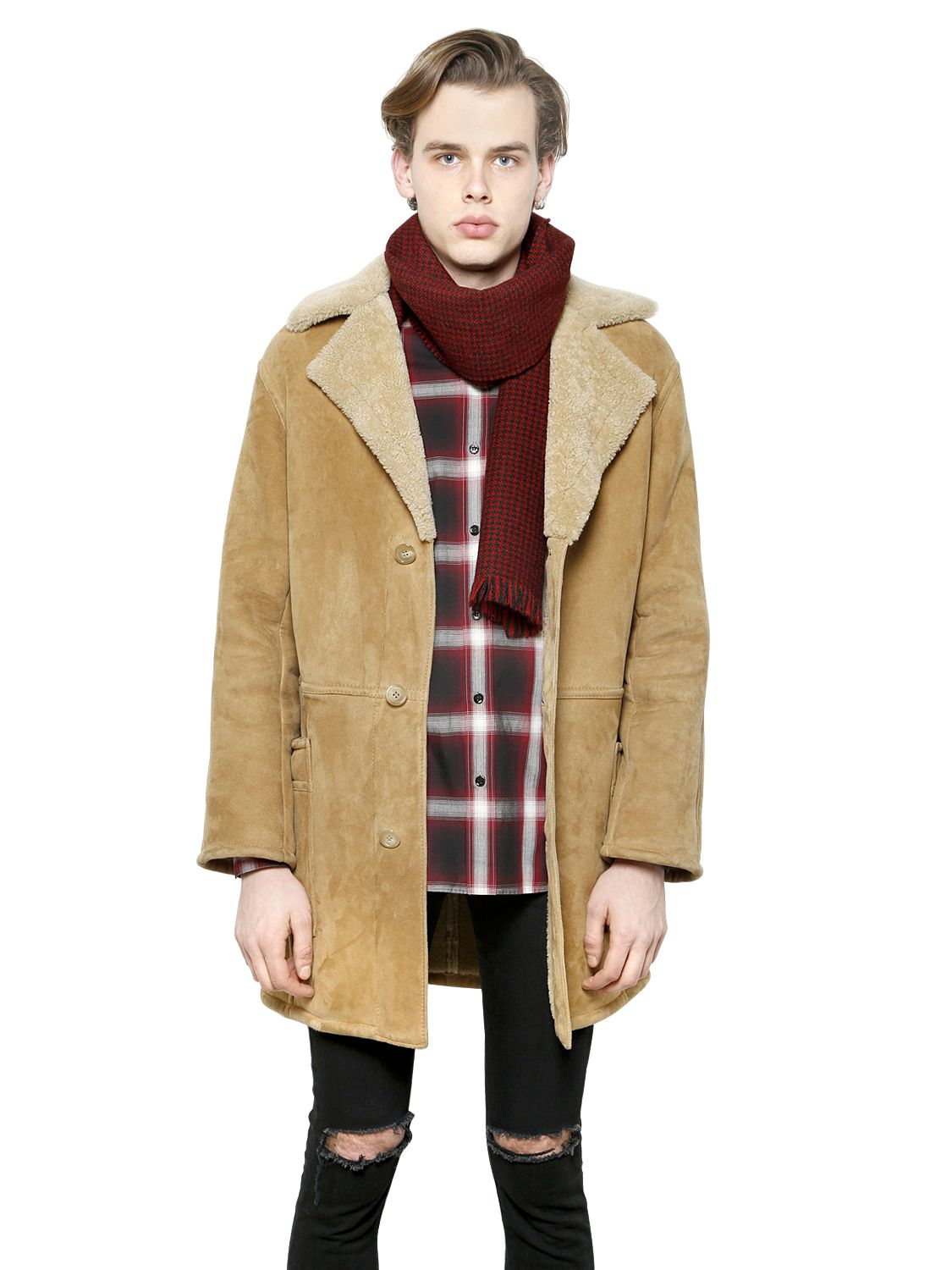 Saint laurent Merino Collared Shearling Coat in Natural for Men | Lyst