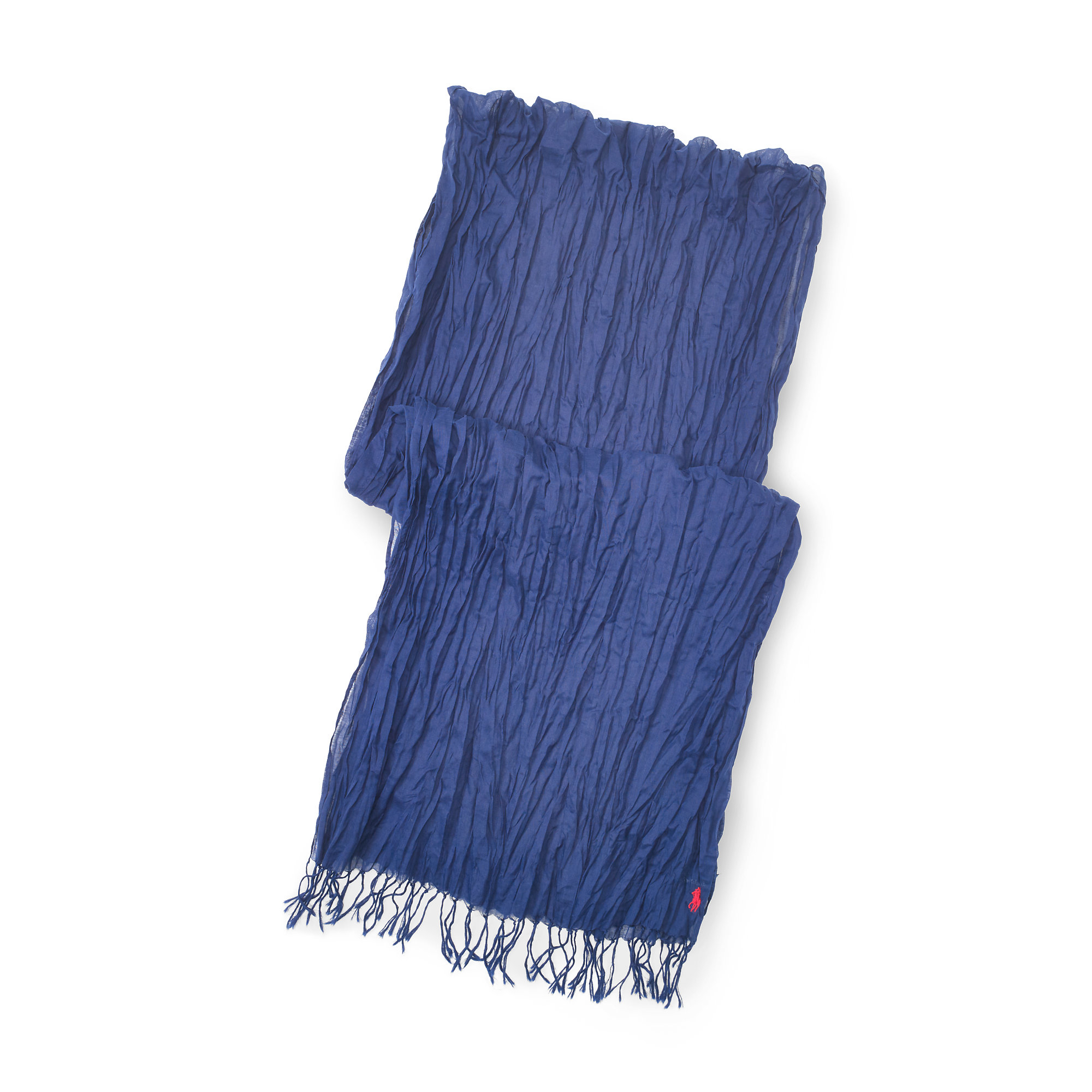 polo ralph crinkled cotton scarf in blue for lyst