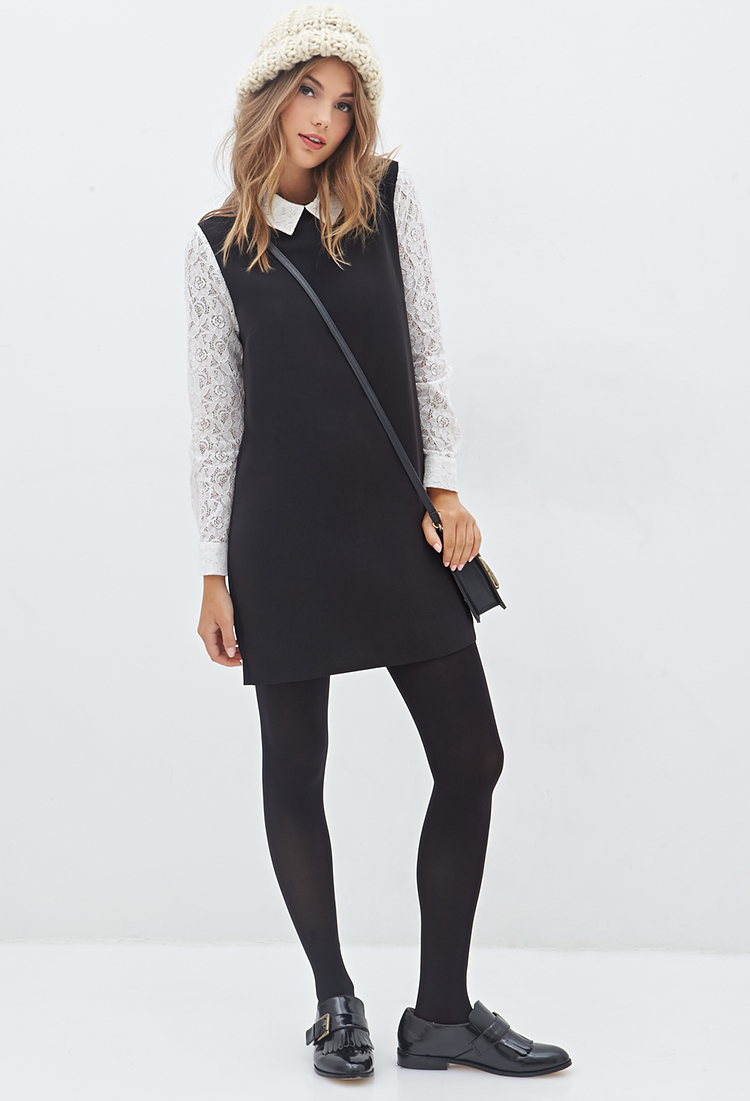 Lyst Forever 21 Lace Collar Shift Dress In Black