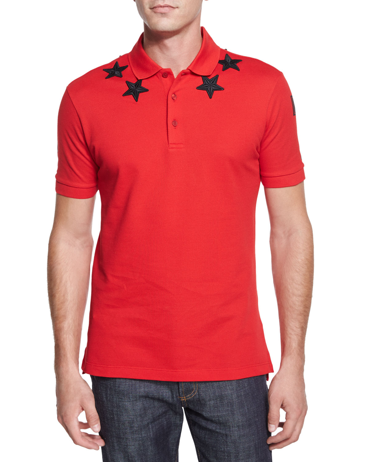 Givenchy Star Print Knit Polo Shirt In Red For Men Lyst