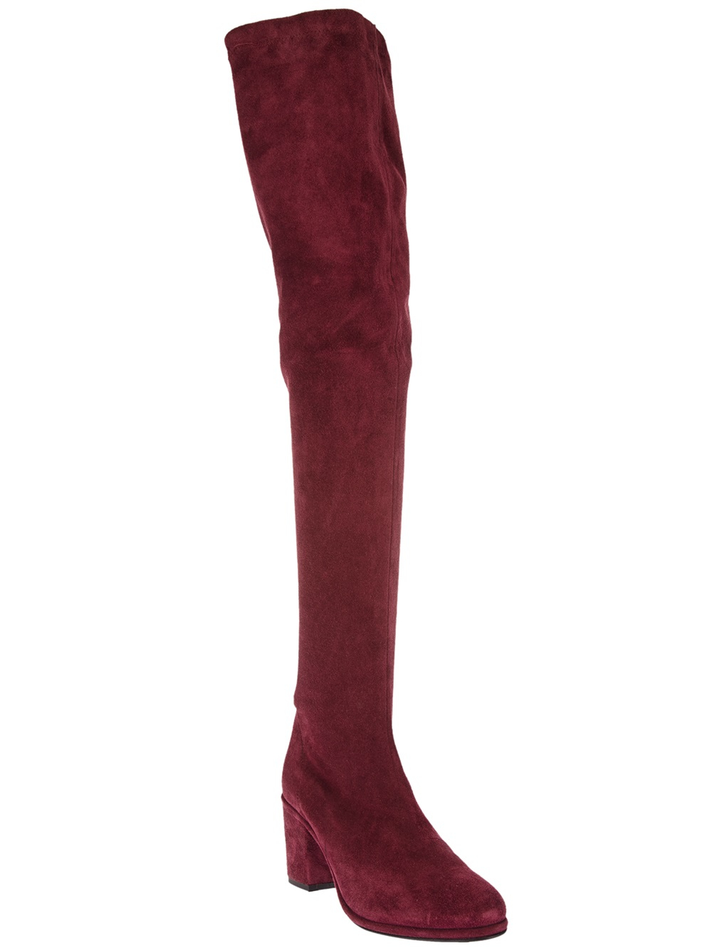 opening ceremony thigh high suede boots in pink pink
