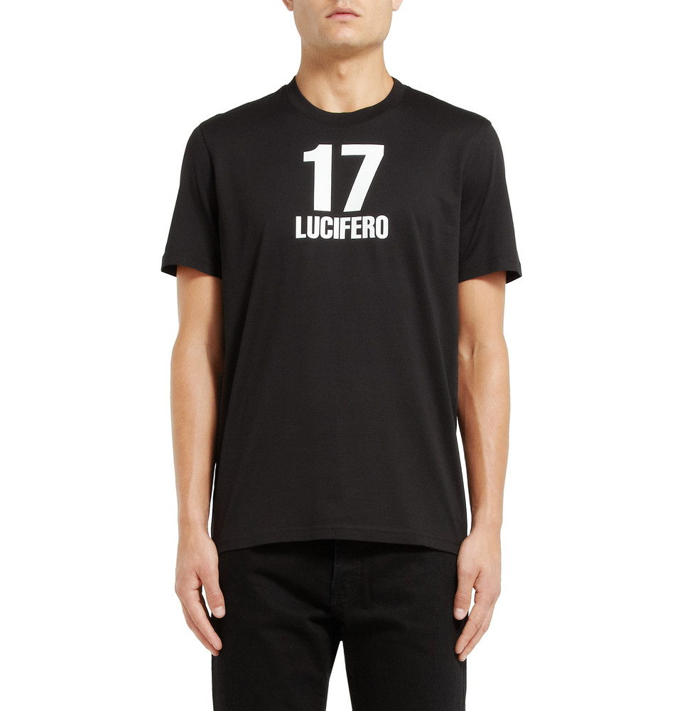 givenchy cuban fit 17 lucifero print t shirt in black for men lyst. Black Bedroom Furniture Sets. Home Design Ideas