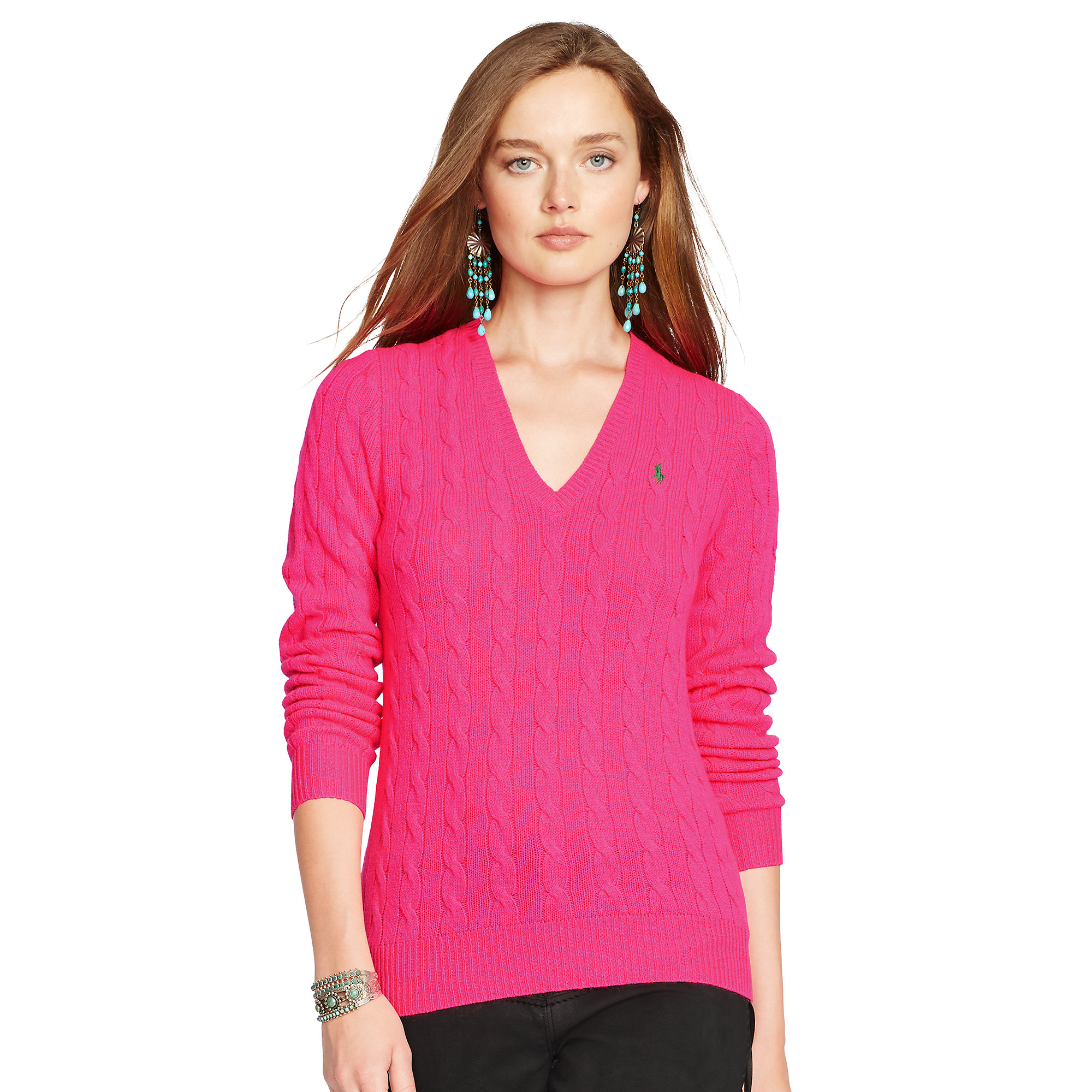 d861eef8d Polo Ralph Lauren Cable-Knit V-Neck Sweater in Pink - Lyst