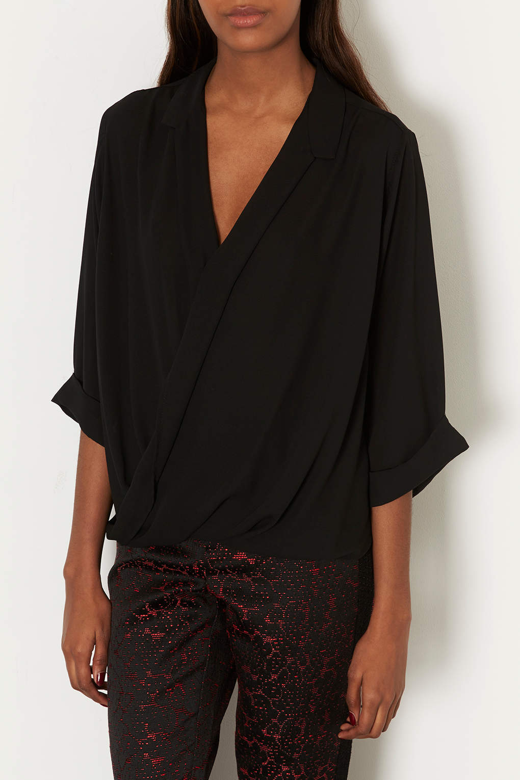 Topshop formal drape blouse in black lyst for Womens denim shirts topshop