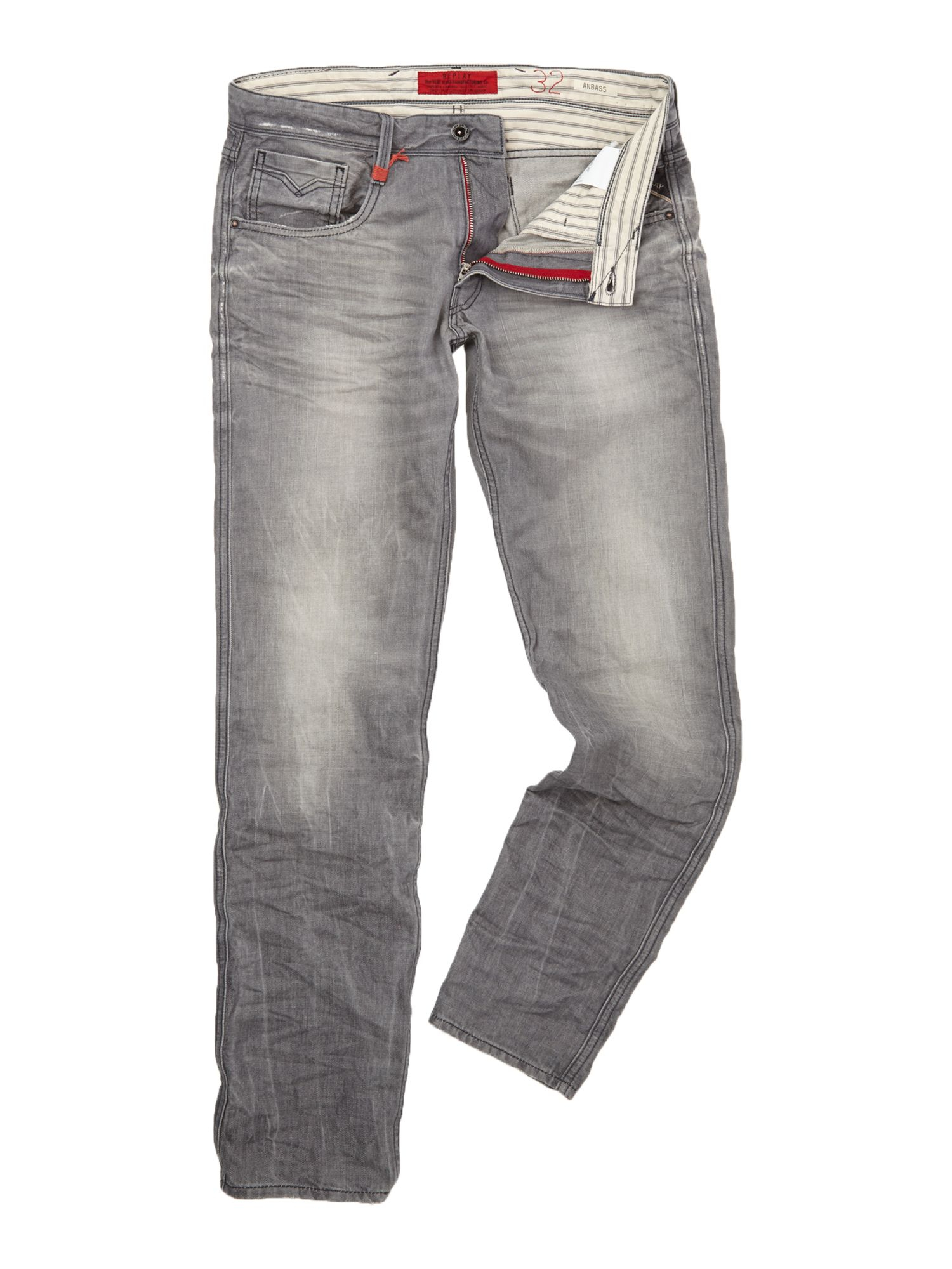 replay anbass slim fit denim jeans in gray for men  lyst