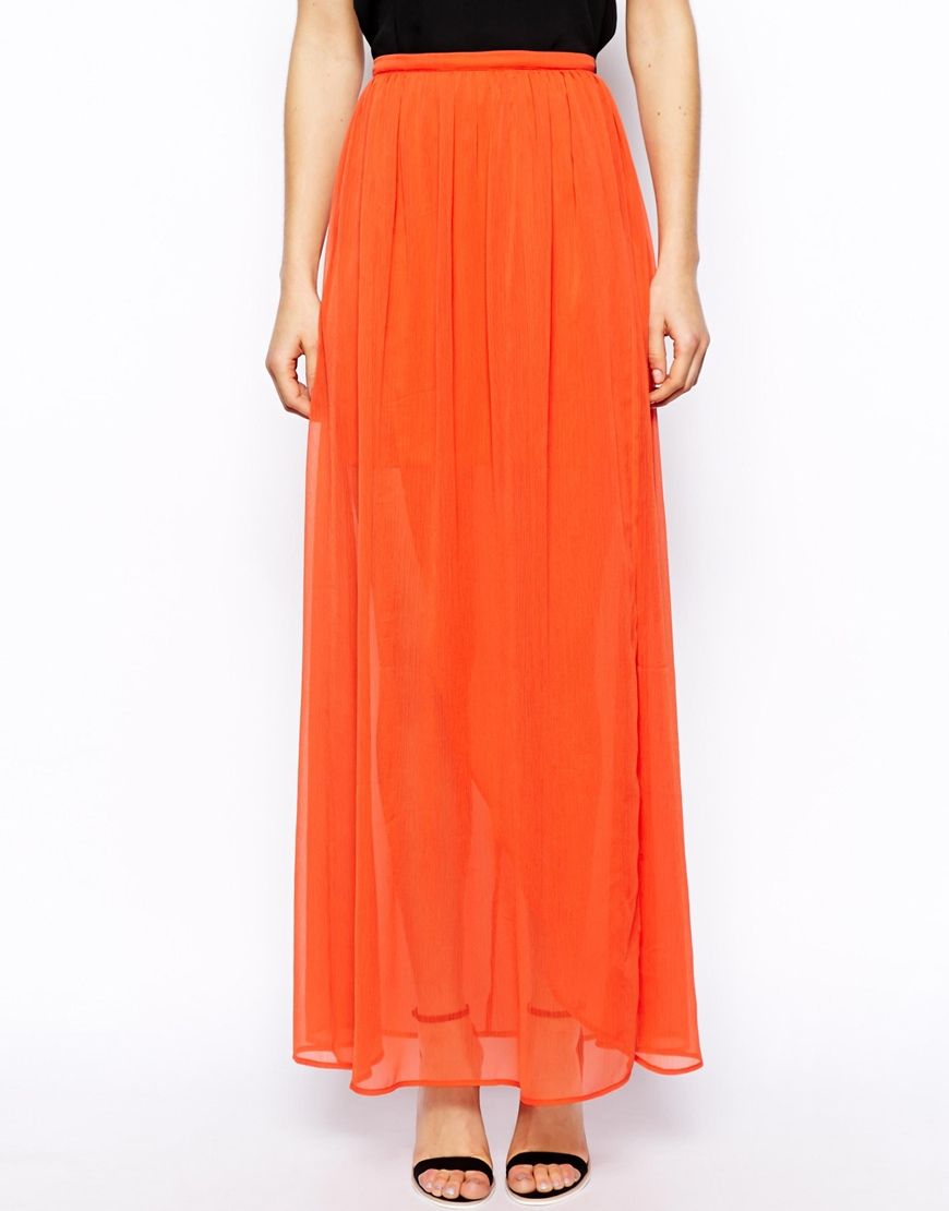 asos wrap maxi skirt in chiffon in orange lyst