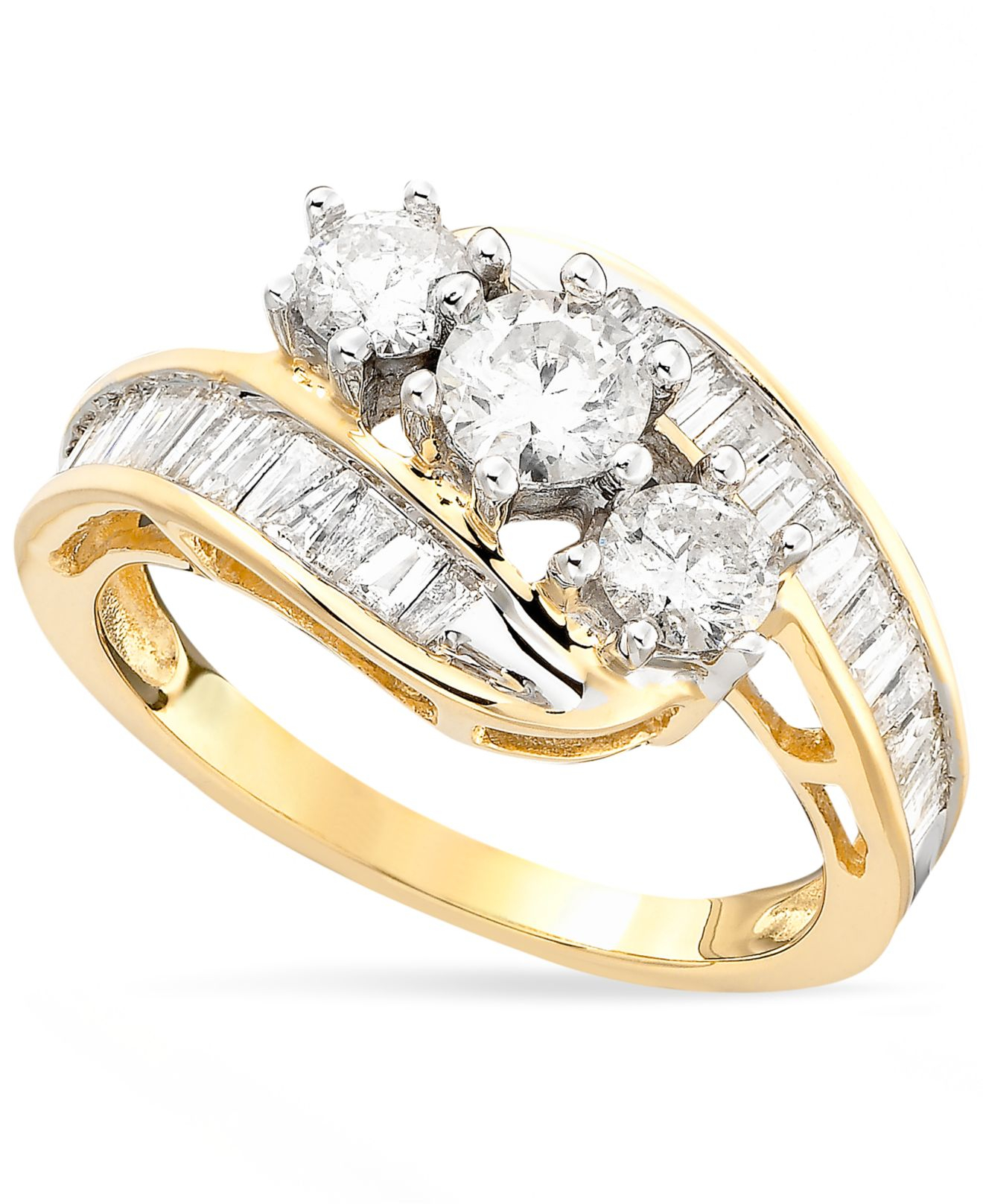 Macy s Us Diamond Bypass Ring In 14K Gold 1 1 2 Ct T W in Gold Yello