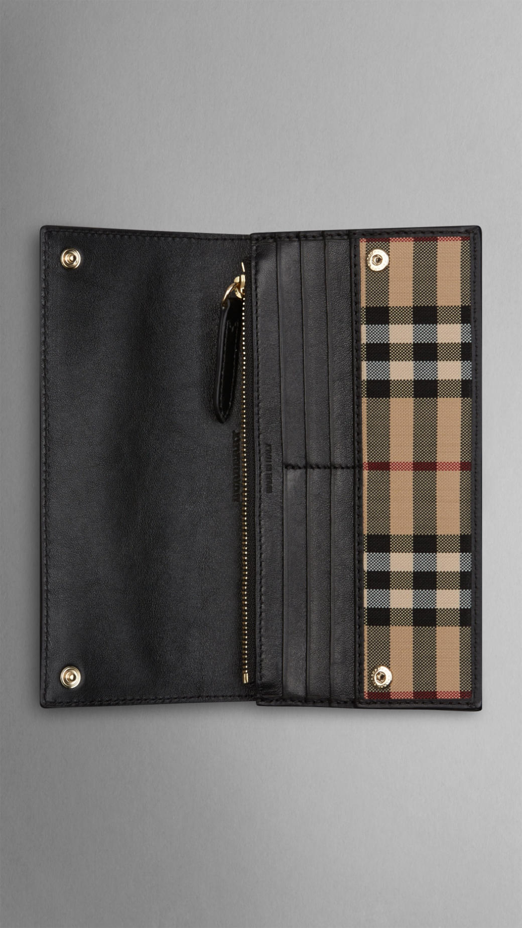 Lyst - Burberry Horseferry Check And Leather Continental Wallet in Black for Men