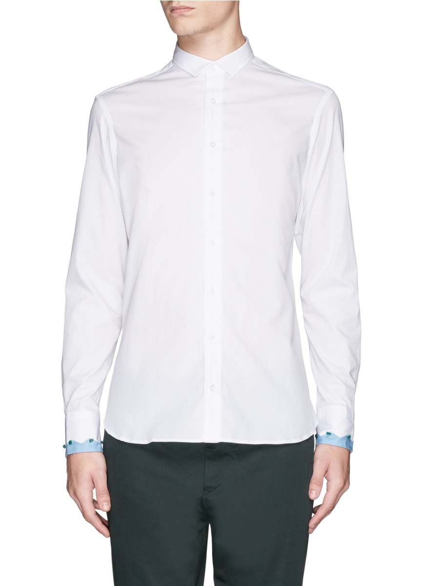 Lyst kolor embellished contrast cuff shirt in white for men for Cuff shirts for men