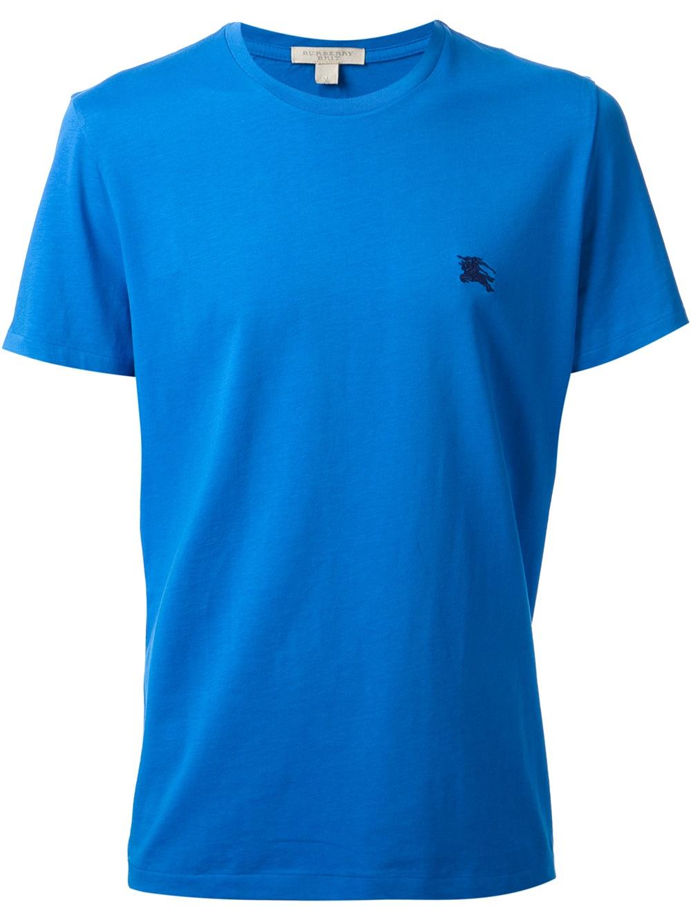 burberry brit logo t shirt in blue for men lyst. Black Bedroom Furniture Sets. Home Design Ideas