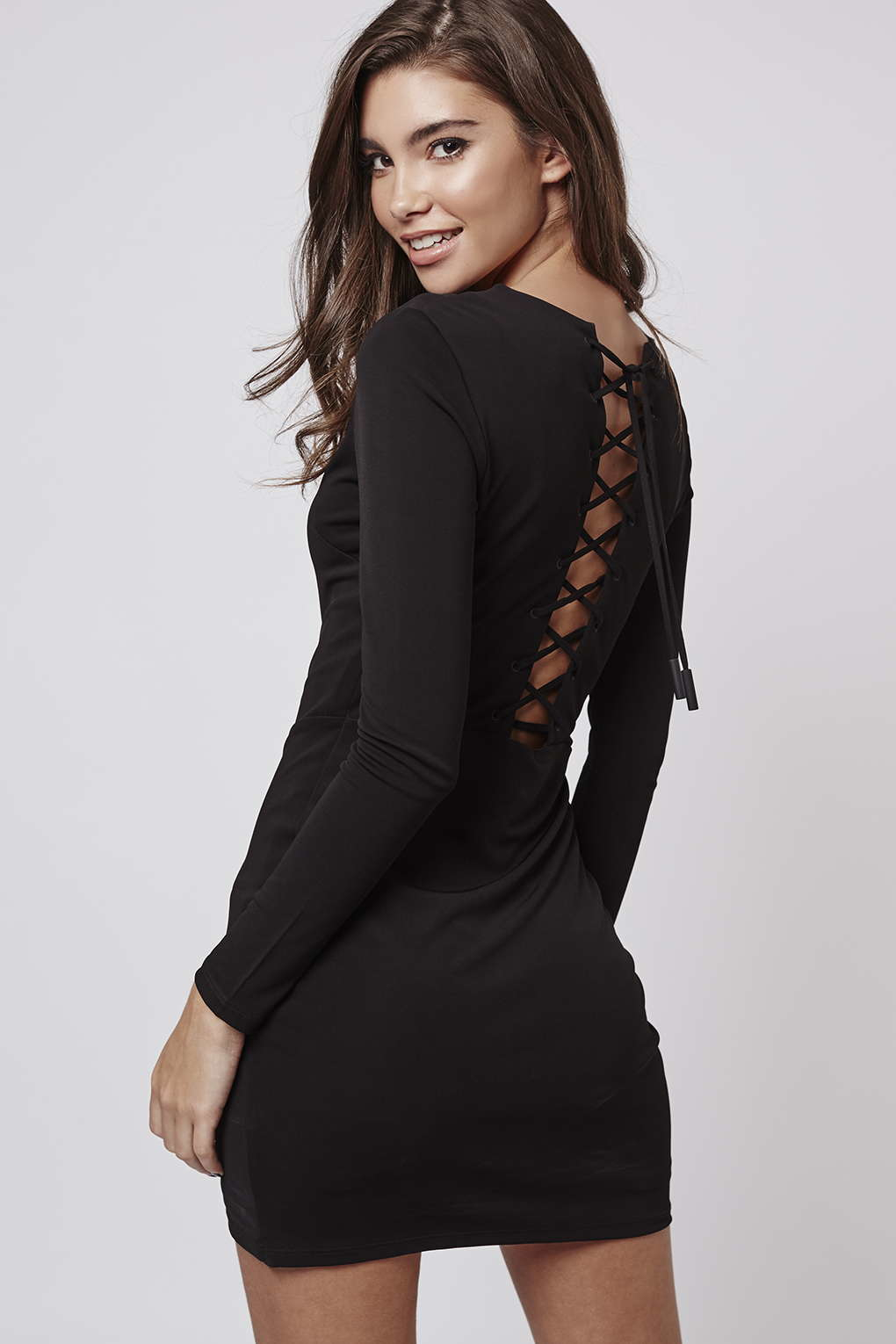 Topshop Lace-up Mini Dress By Kendall   Kylie At in Black | Lyst