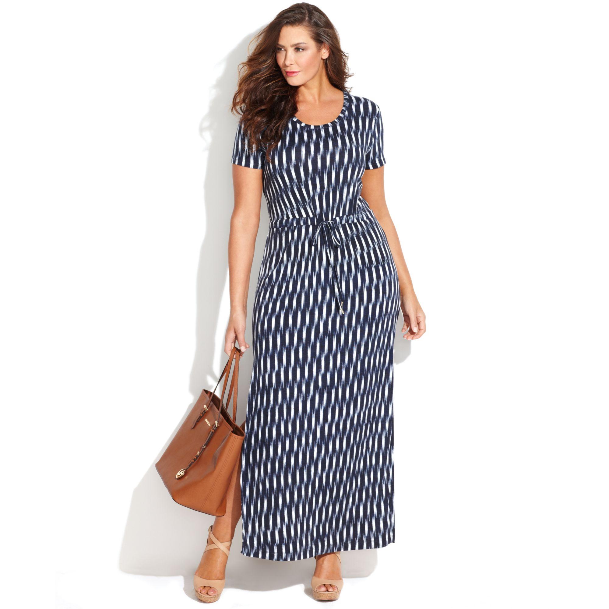Michael Plus Size Shortsleeve Printed Maxi Dress