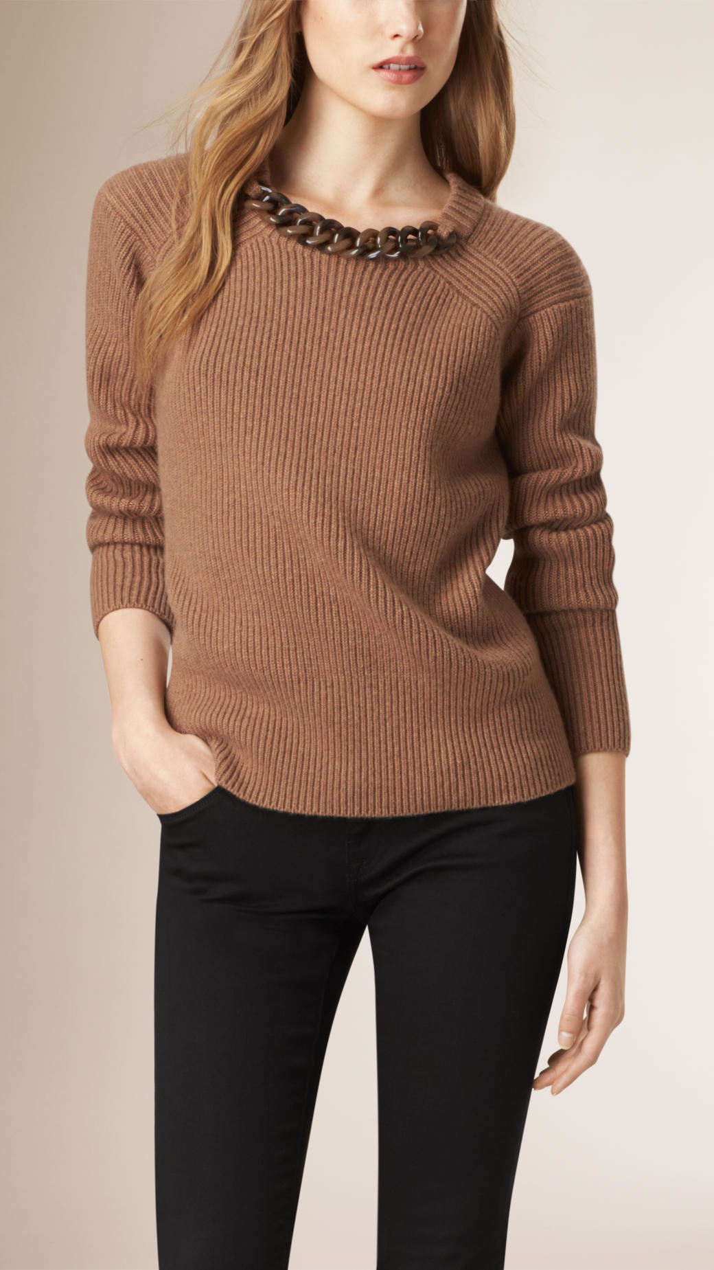 Burberry Chain Detail Wool Cashmere Sweater in Brown | Lyst