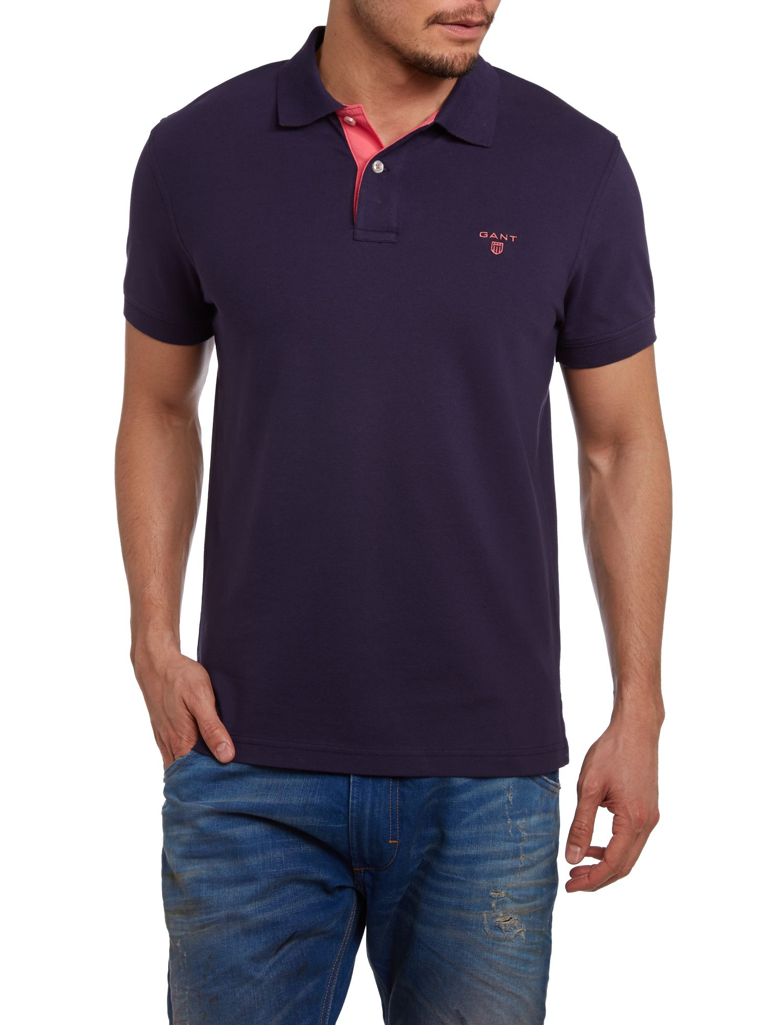Gant Contrast Collar Polo Shirt In Purple For Men Lyst