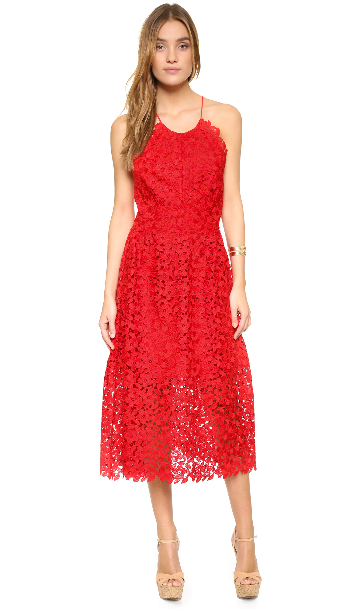 Cynthia rowley Lace Back Dress in Red | Lyst