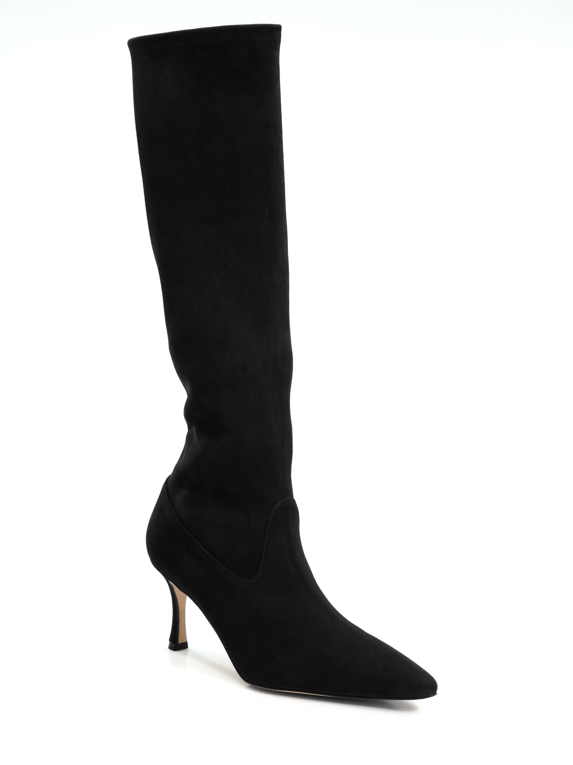 manolo blahnik pascalare suede knee high boots in black lyst