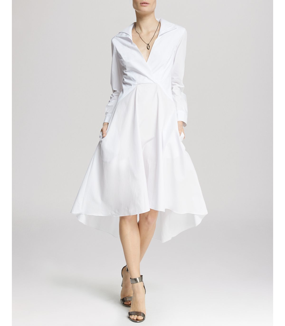 Lyst halston dress high low skirt shirt in white for Halston heritage shirt dress
