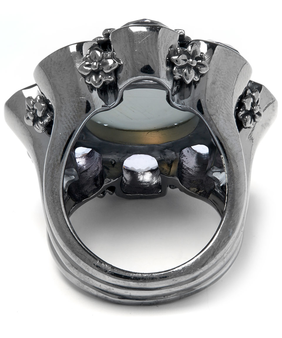 Stephen Dweck Grey Moonstone And Amethyst Flower Ring in Grey