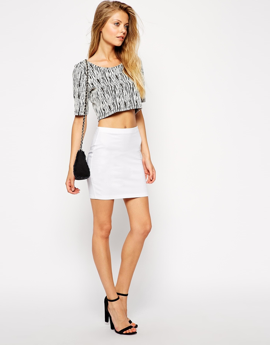 asos mini skirt in jersey in white lyst