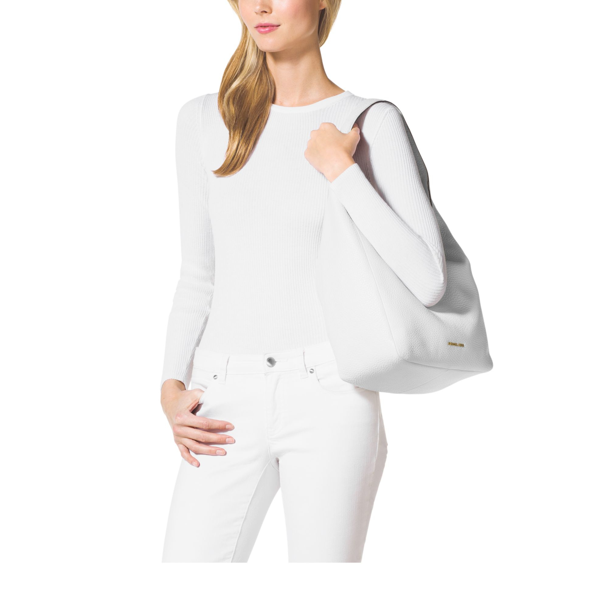 2aefc30340a0 Michael kors Lena Large Leather Shoulder Bag in White Lyst ...