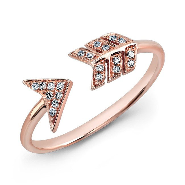 Anne sisteron 14kt rose gold diamond arrow ring in pink lyst for Jewelry storm arrow ring