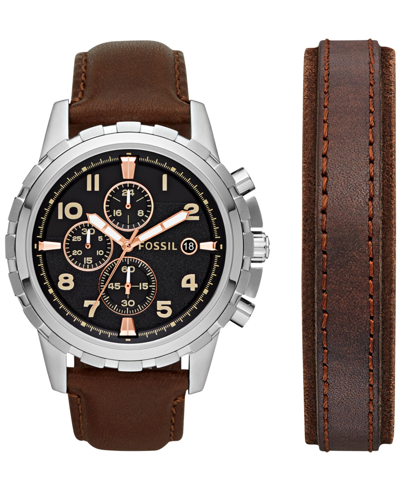 Men S Chronograph Dean Dark Brown Leather Bracelet And Watch Set 45mm Fs5129set A Macy Exclusive