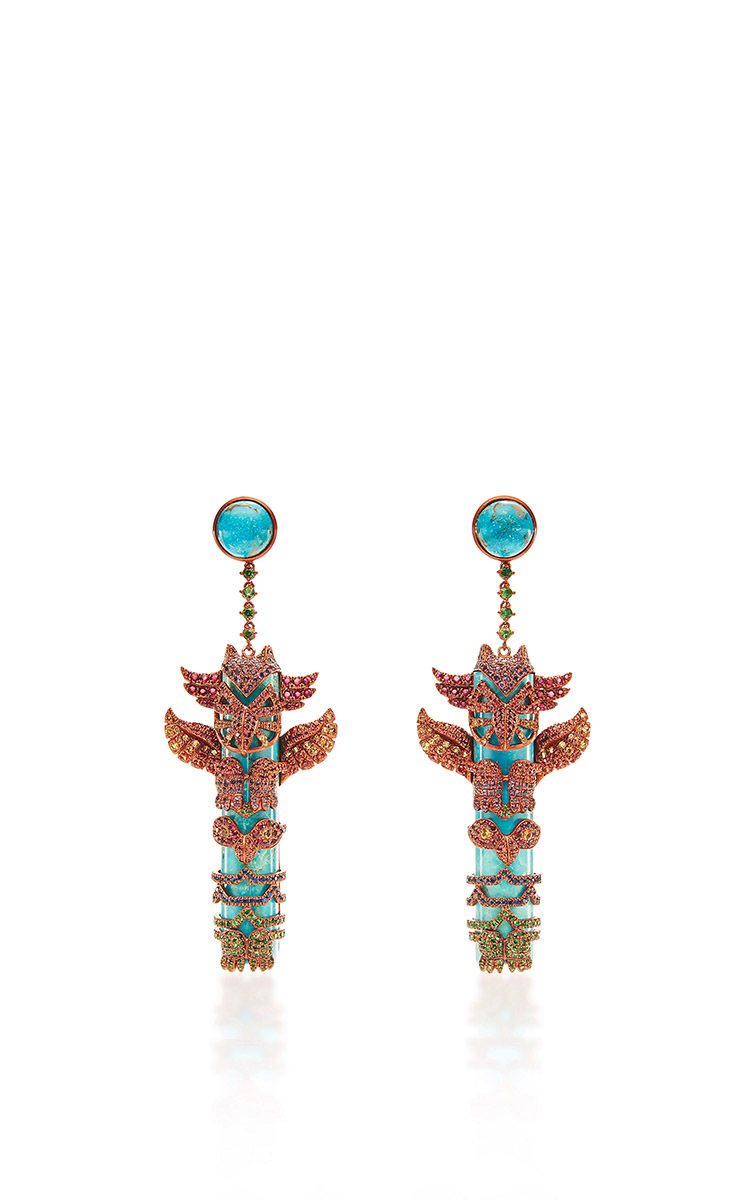 Lyst Lydia Courteille One Of A Kind Totem Pole Earrings